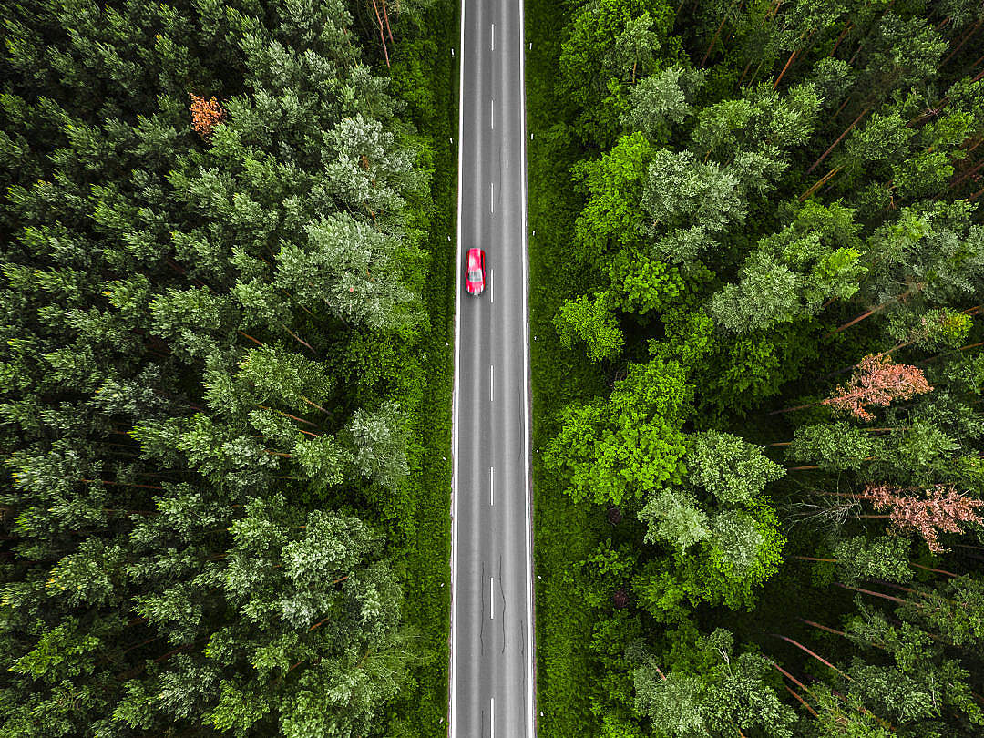 Download Red Car on the Road Aerial Photo FREE Stock Photo