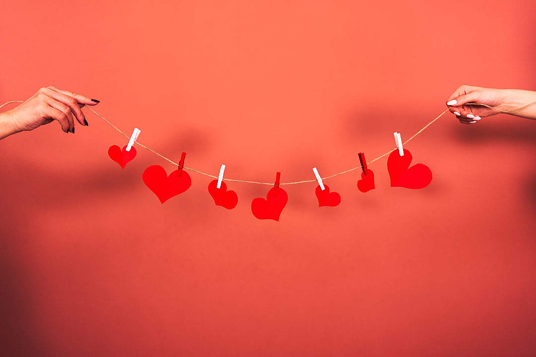 Download Red Hearts Hanging on a String FREE Stock Photo