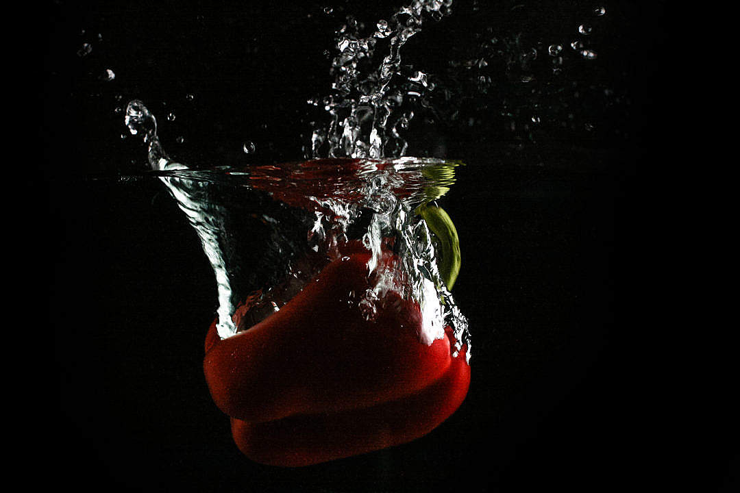 Download Red Paprika in Water FREE Stock Photo