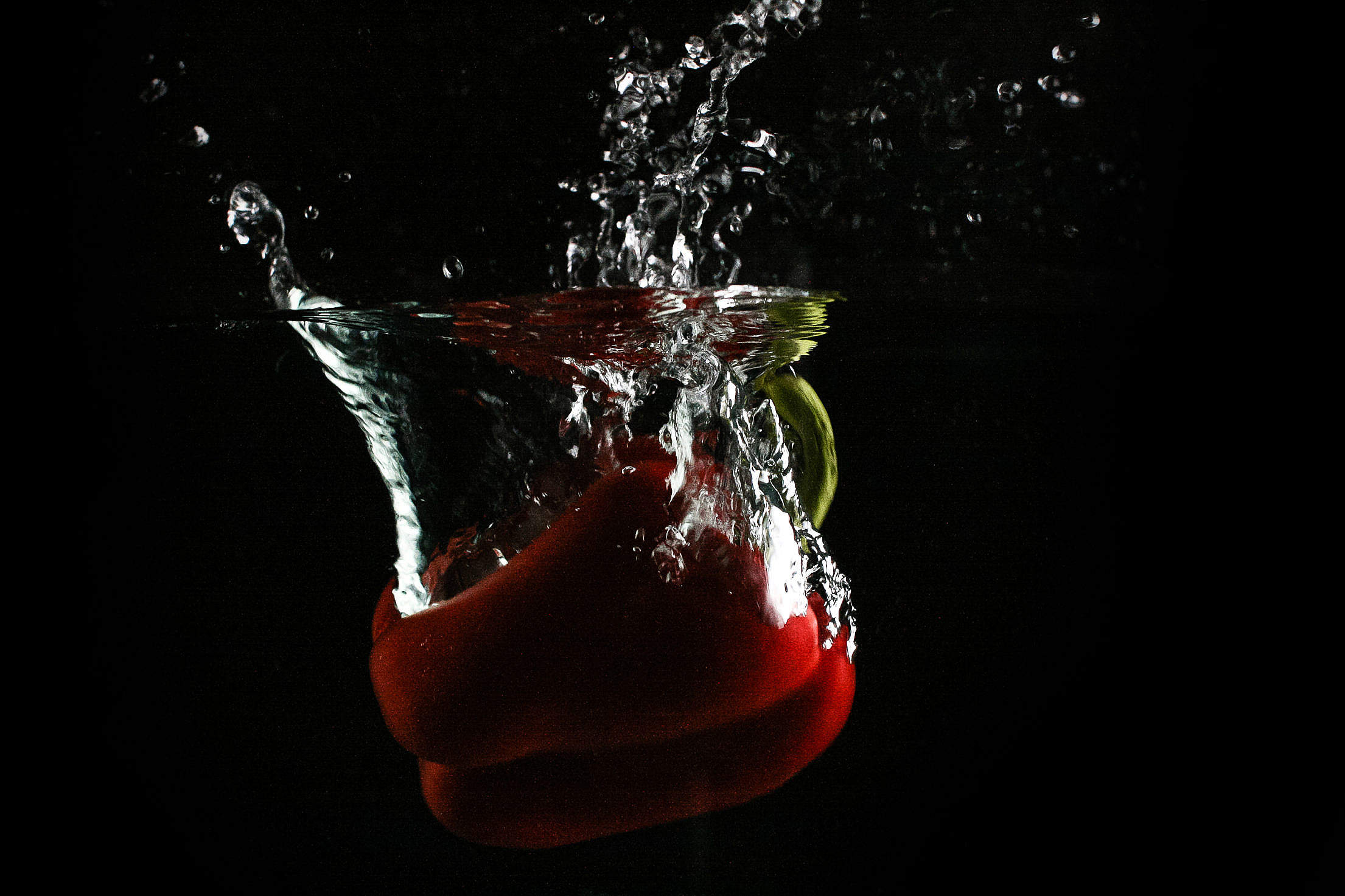 Red Paprika in Water Free Stock Photo