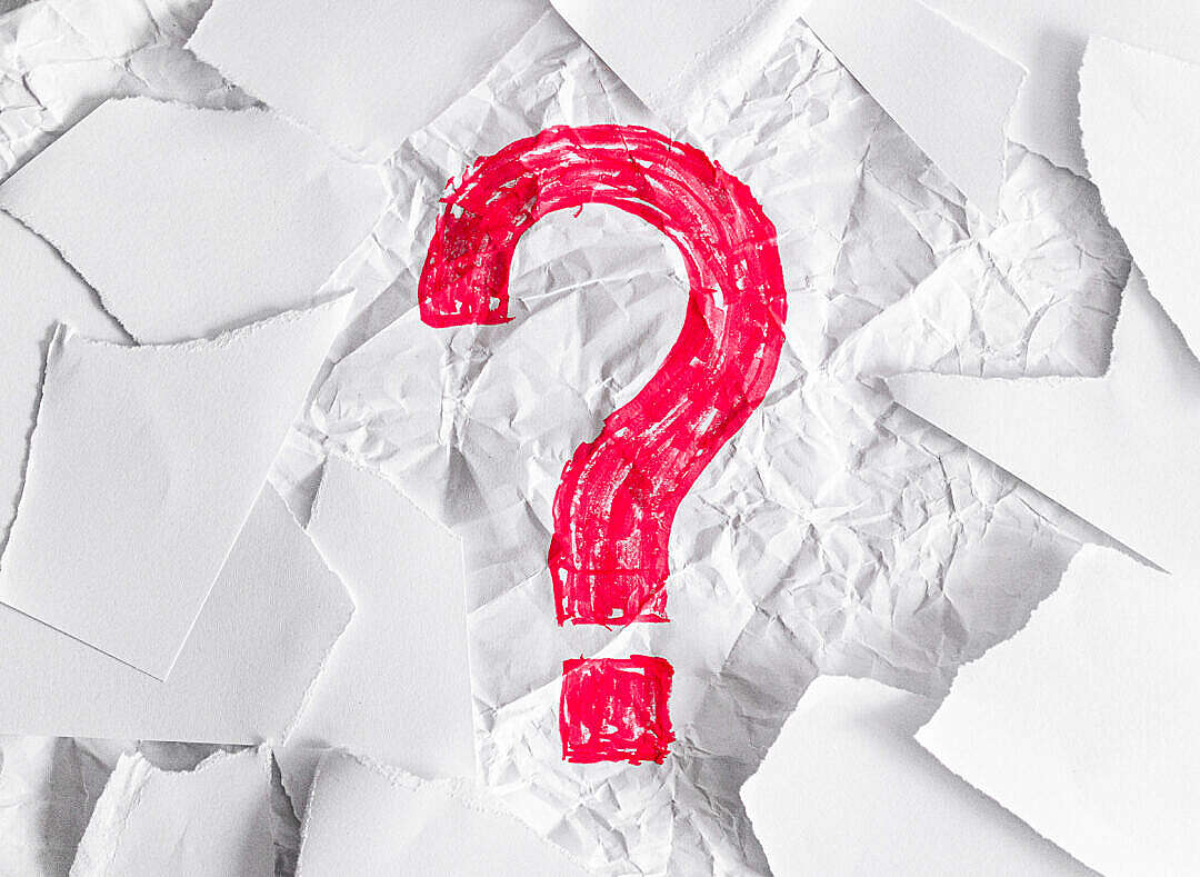 Download Red Question Mark on Crumpled and Torn Paper FREE Stock Photo