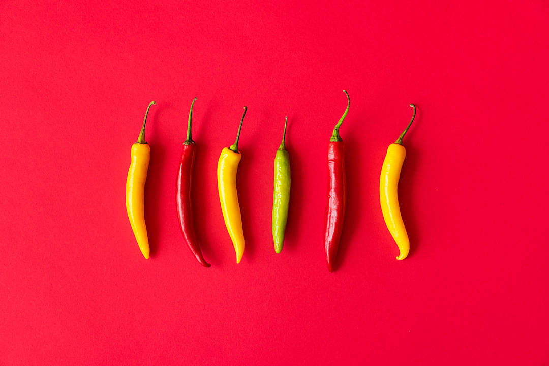 Download Red, Yellow and Green Hot Chilli Peppers FREE Stock Photo