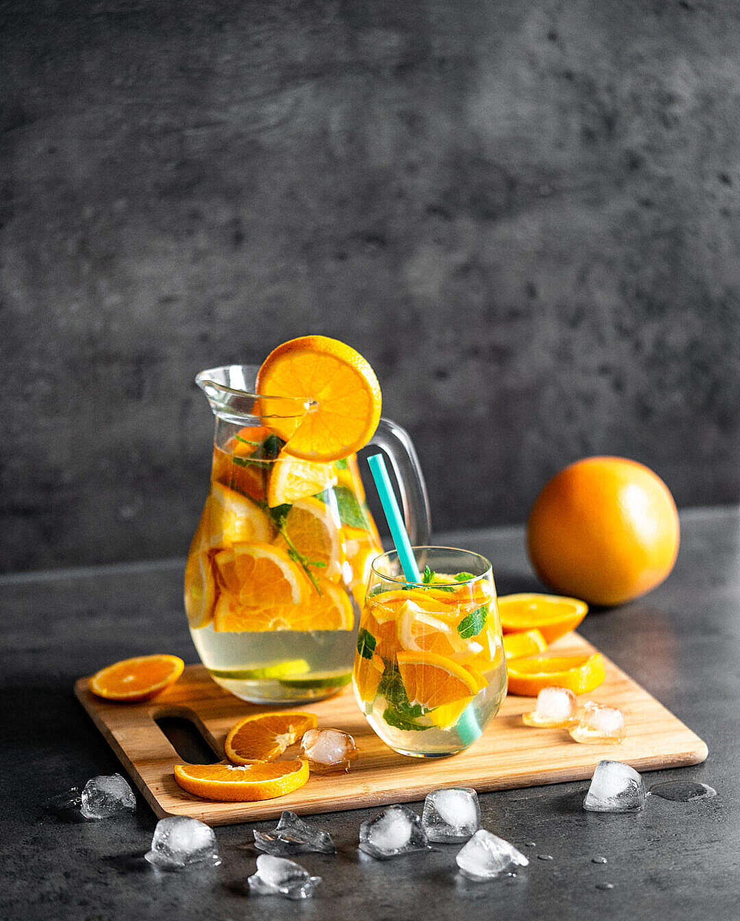 Download Refreshing Cold Citrus Water with Mint FREE Stock Photo