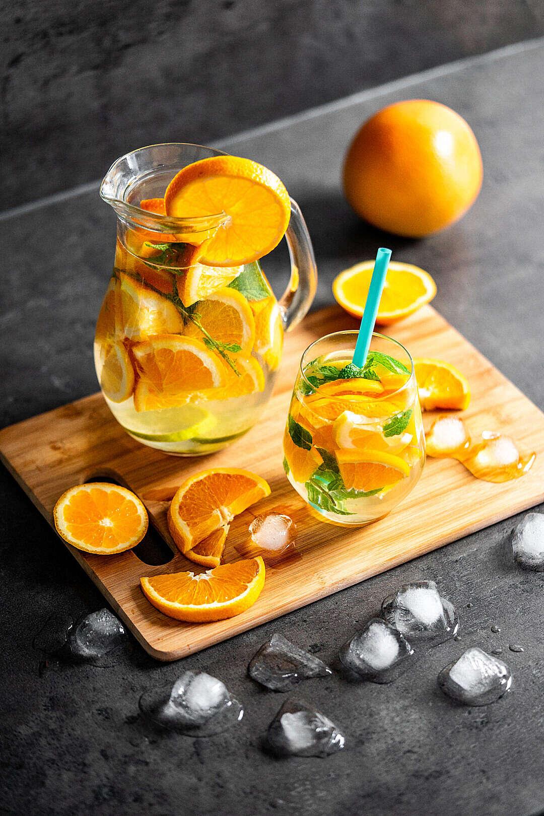 Download Refreshing Orange Lemonade with Mint FREE Stock Photo