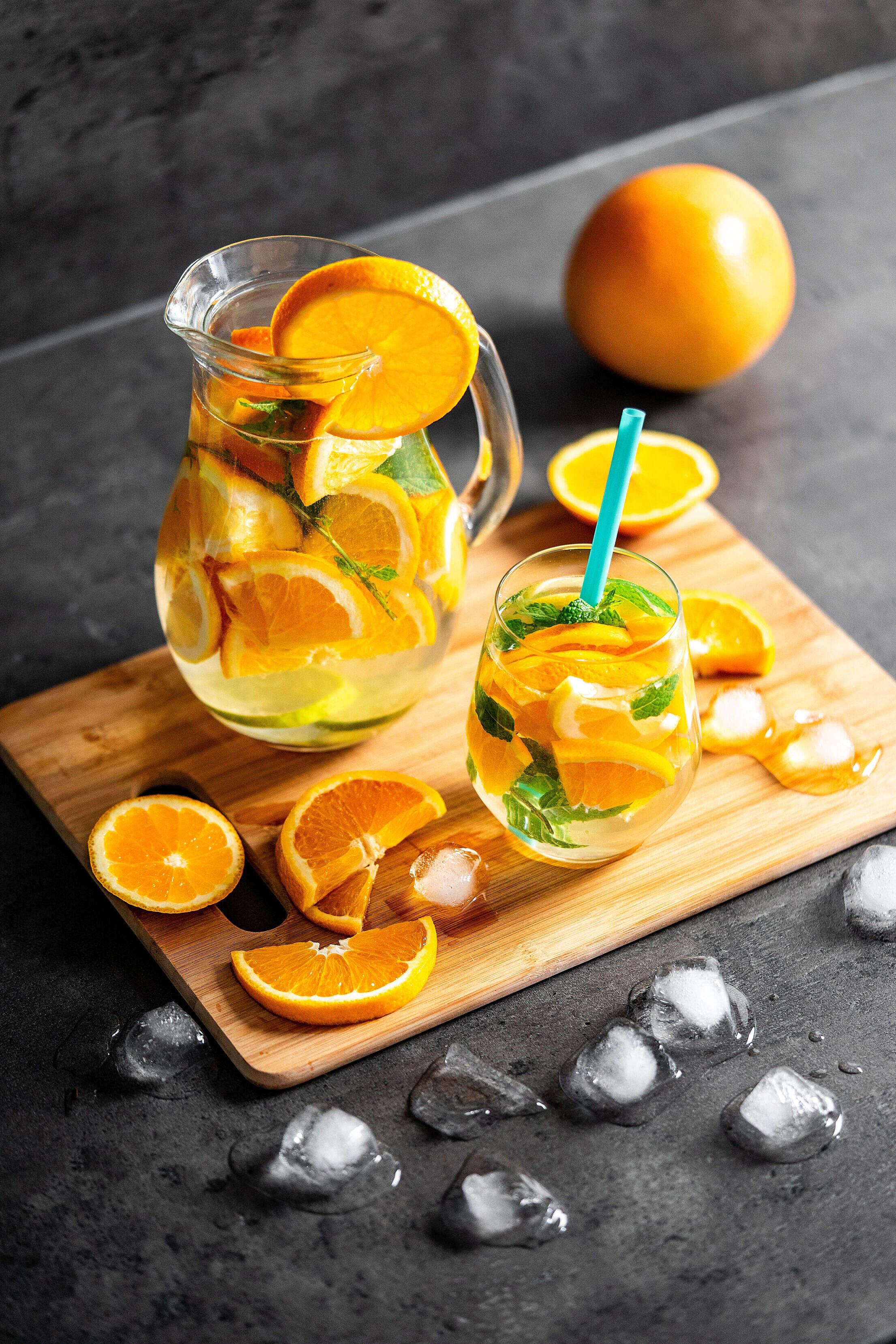 Refreshing Orange Lemonade with Mint Free Stock Photo