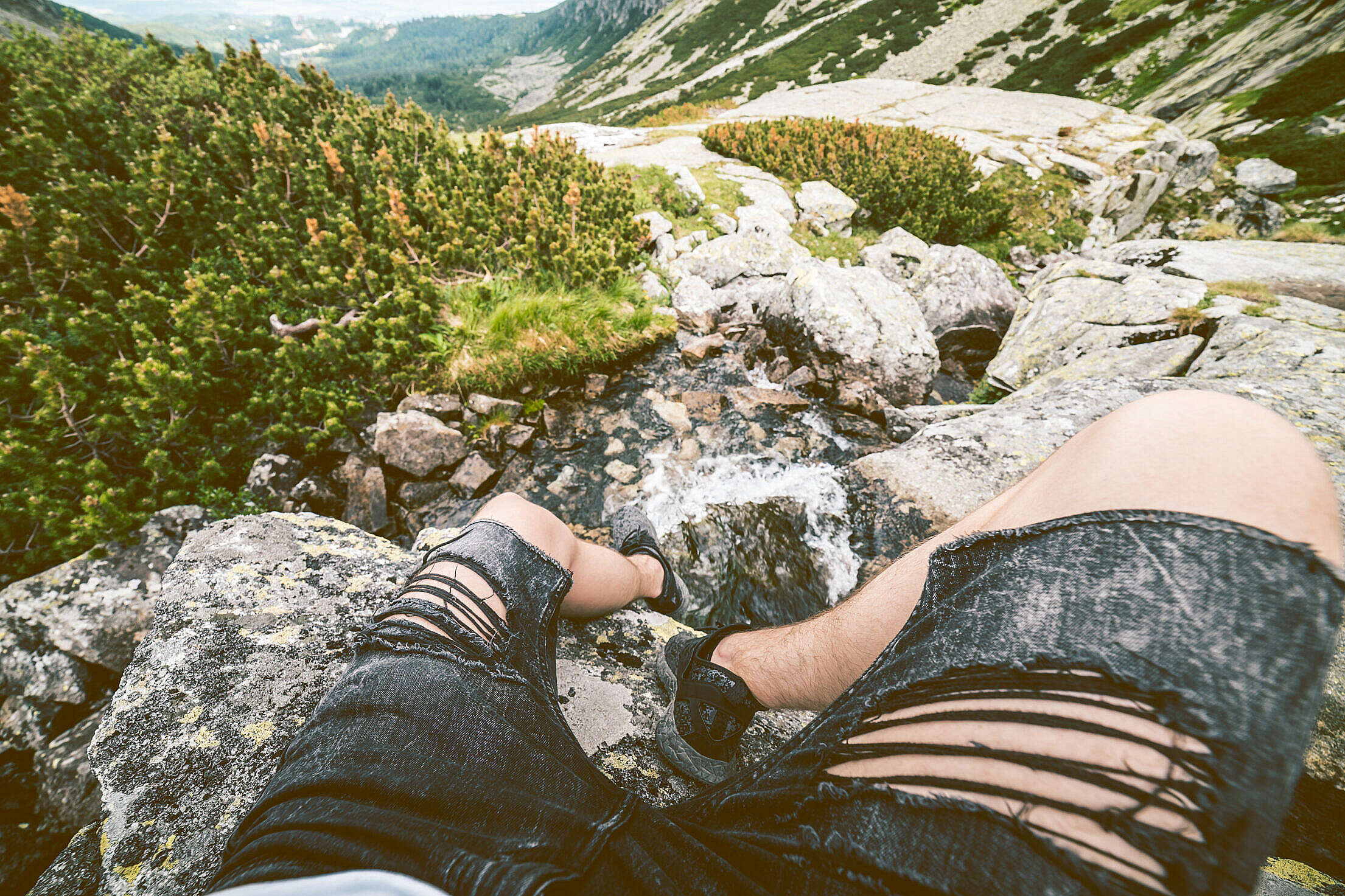 Relax After Hiking a Mountain Free Stock Photo