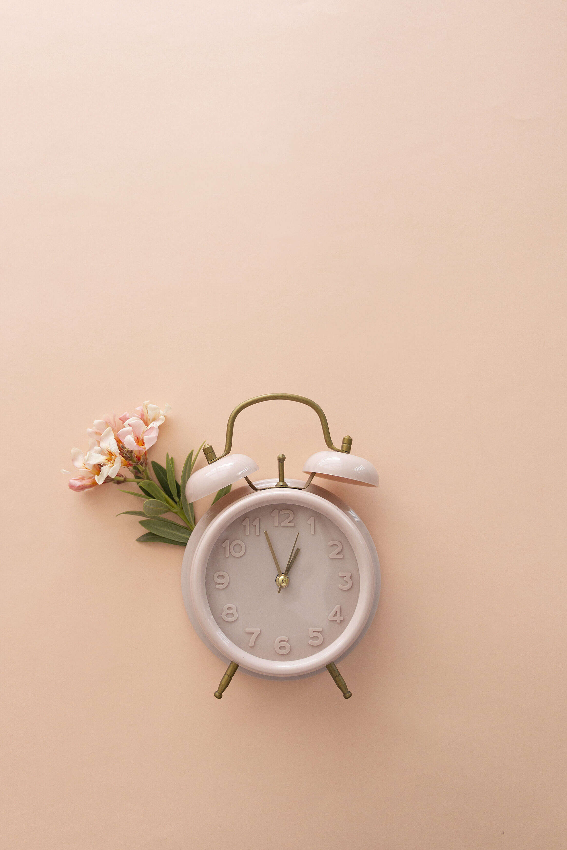 Retro Clock with Flower on Pastel Background Free Stock Photo