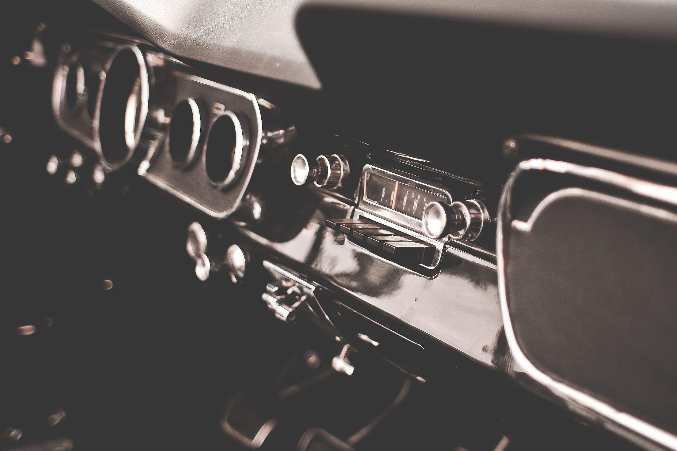 Retro Dashboard in Veteran Car Free Stock Photo