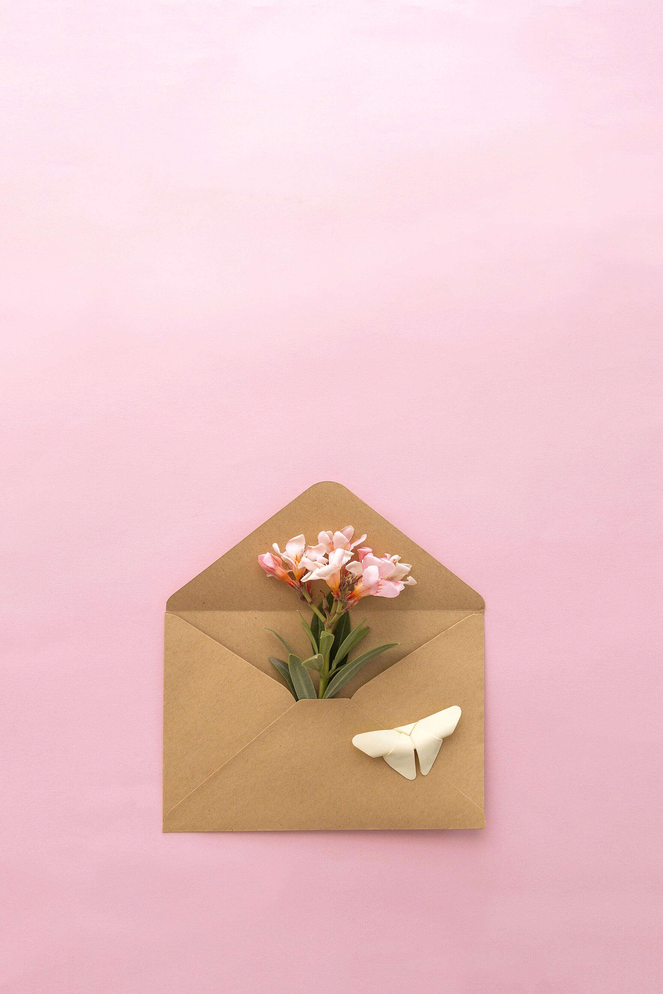 Retro Envelope with Flowers Inside Free Stock Photo