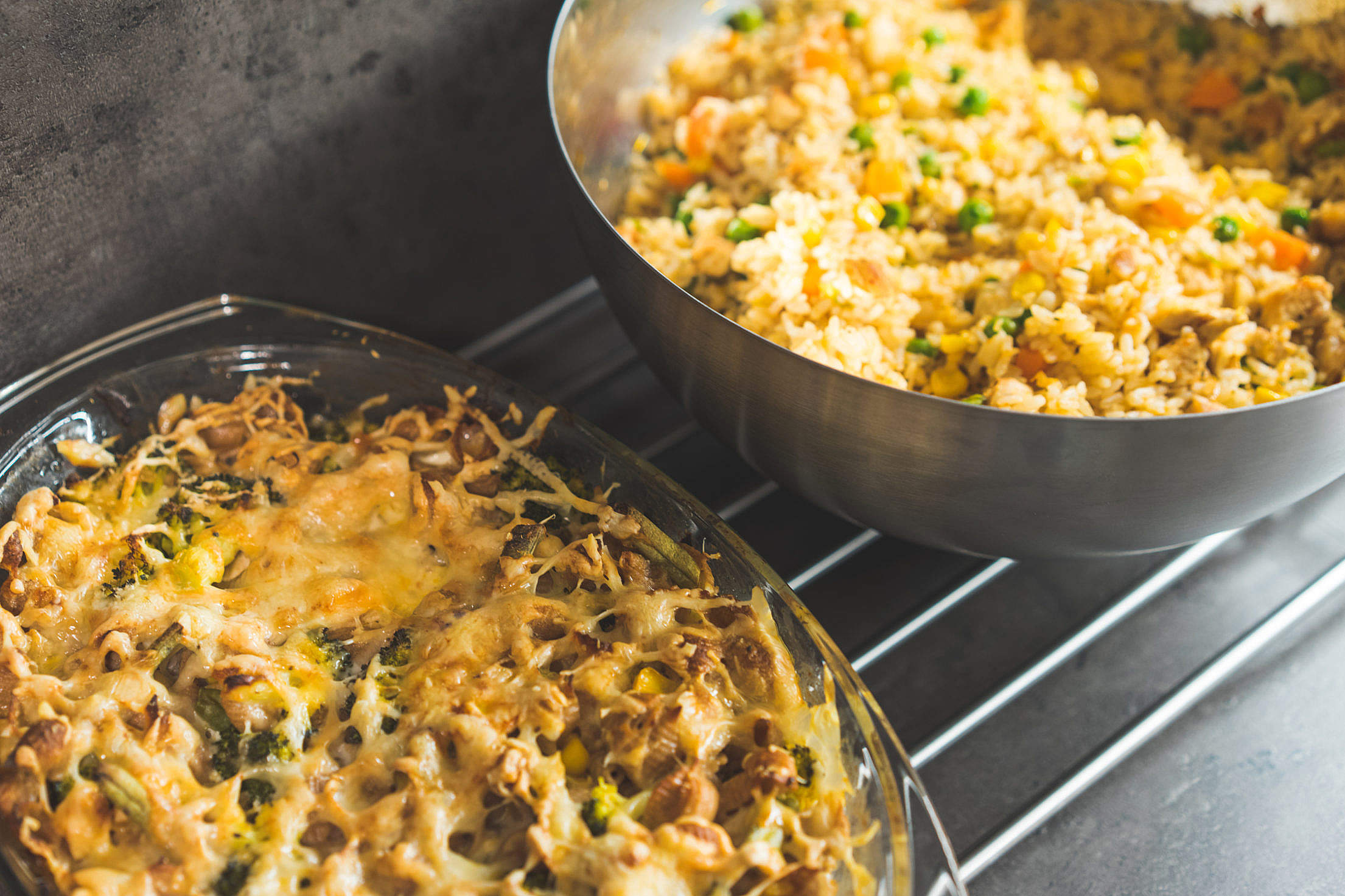 Risotto and Roasted Wholemeal Pasta Free Stock Photo
