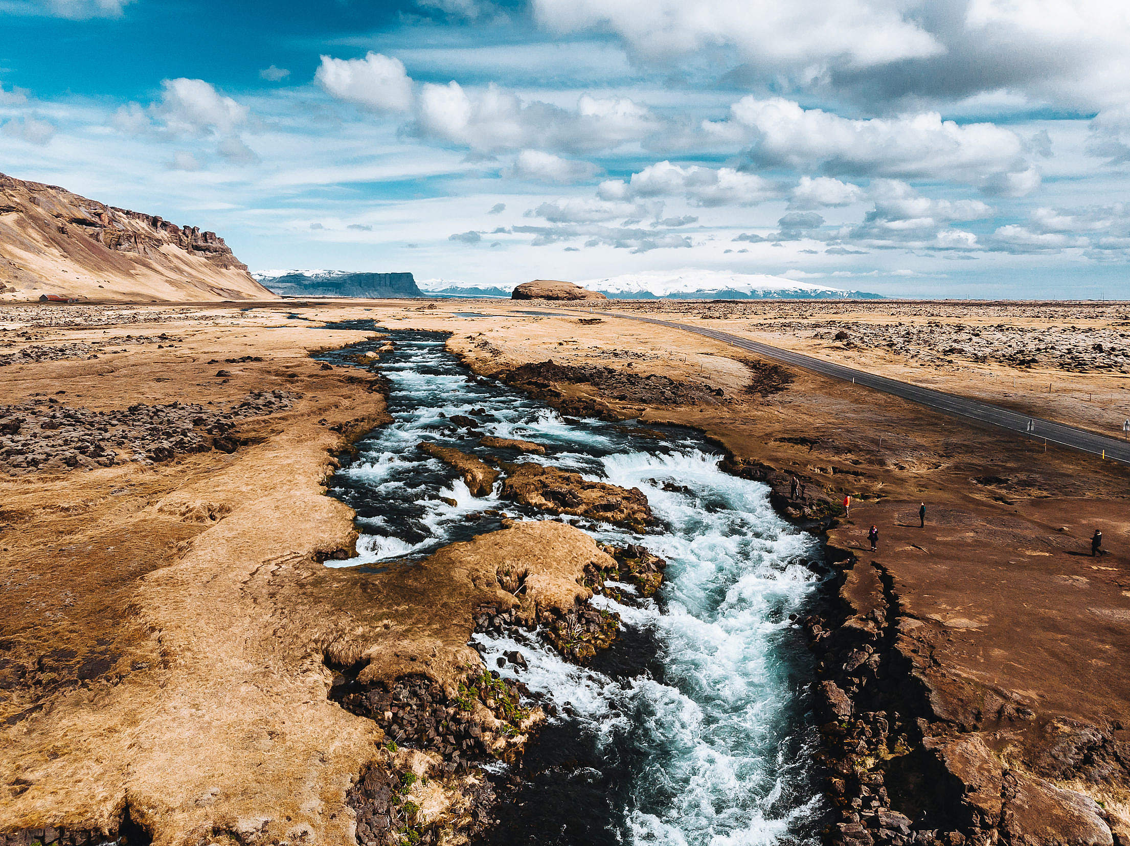 River and Small Waterfalls Along the Road on Iceland Free Stock Photo