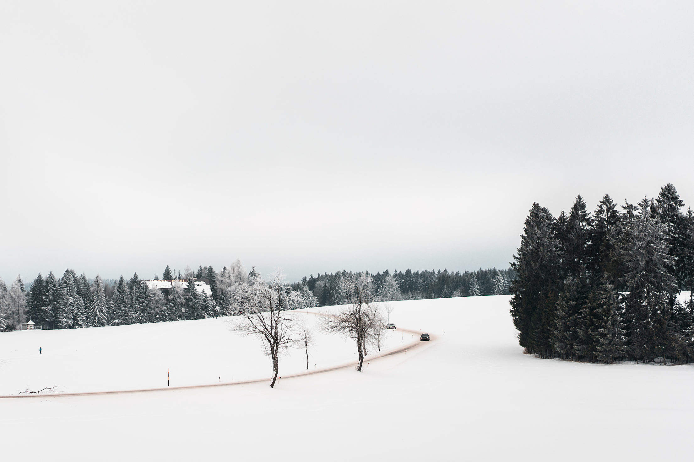 Road and Fields Covered with Snow Free Stock Photo