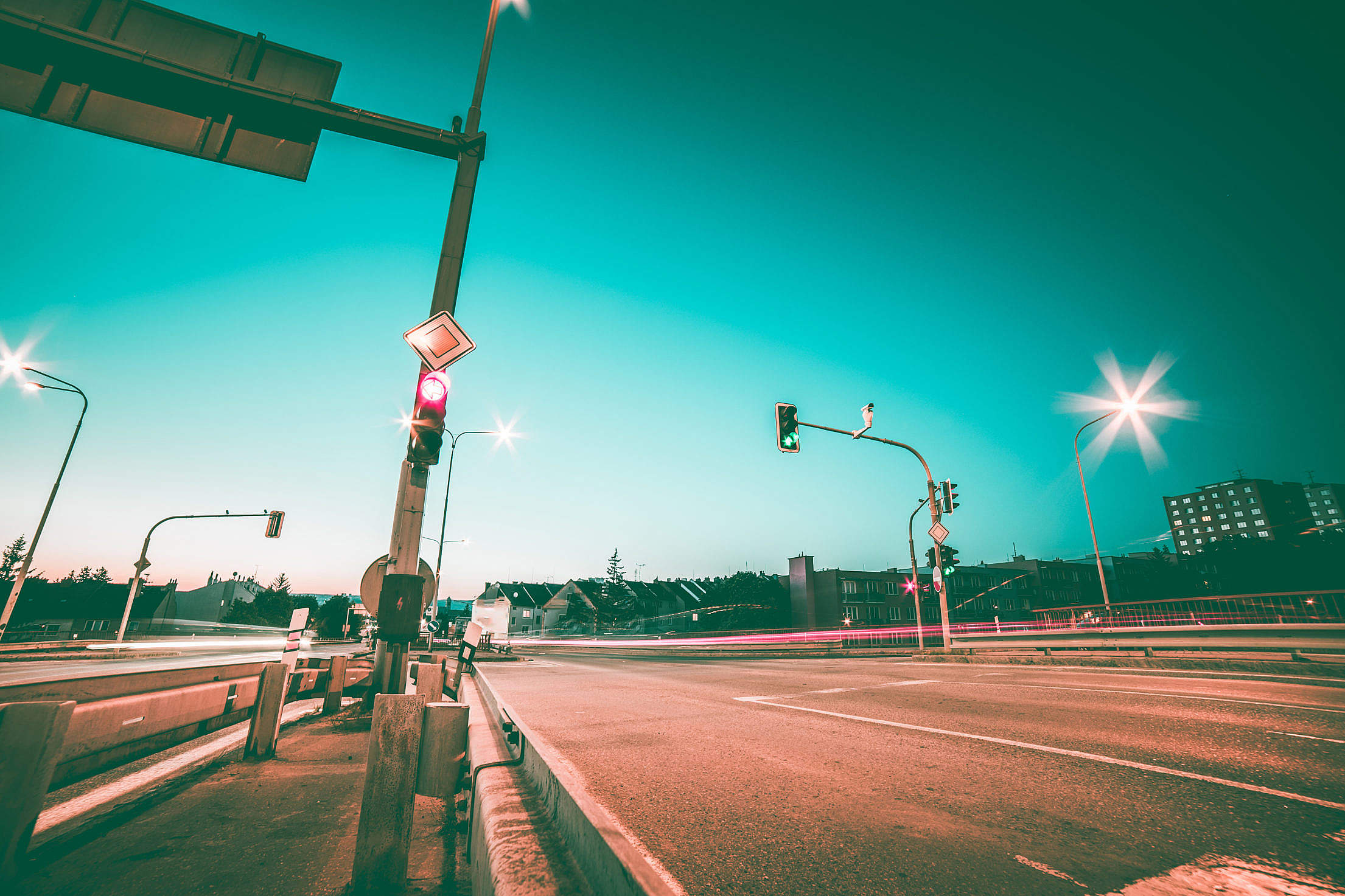 Road Intersection and Traffic Lights #2 Free Stock Photo