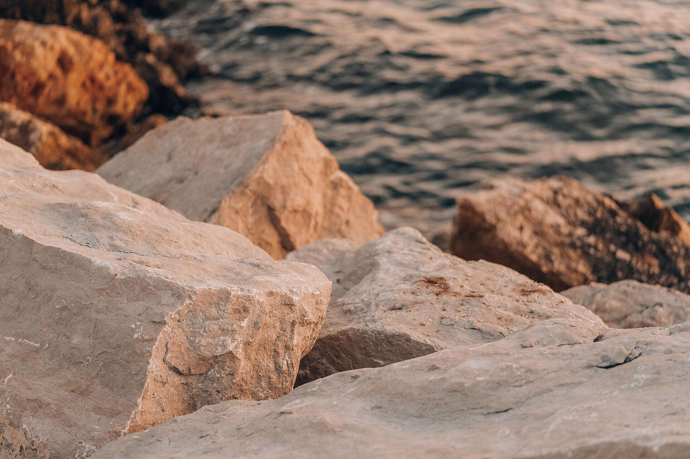Rocky Sea Coast in Croatia During Sunset Free Stock Photo