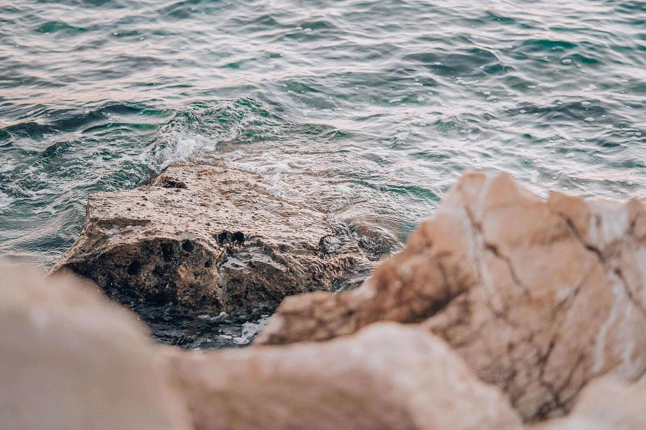 Rocky Shore by the Sea Free Stock Photo