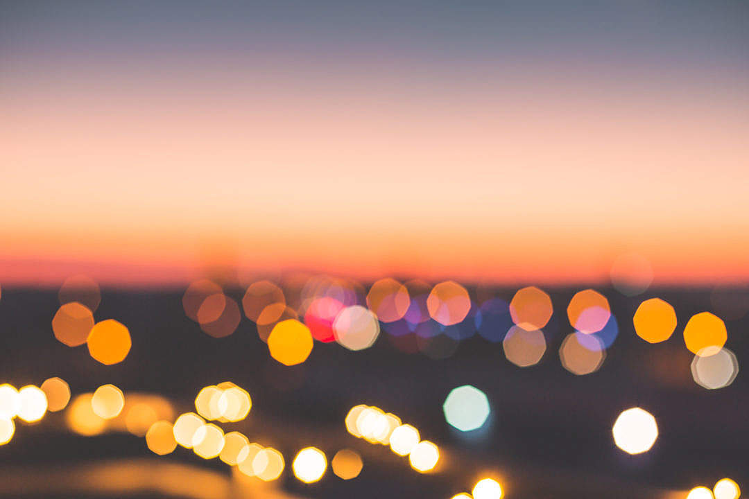 Download Romantic Bokeh Colors Over The City FREE Stock Photo