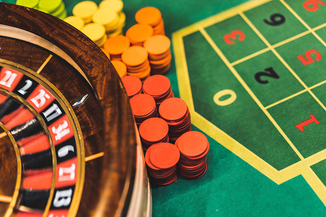 Download Roulette Table and Chips in Casino FREE Stock Photo