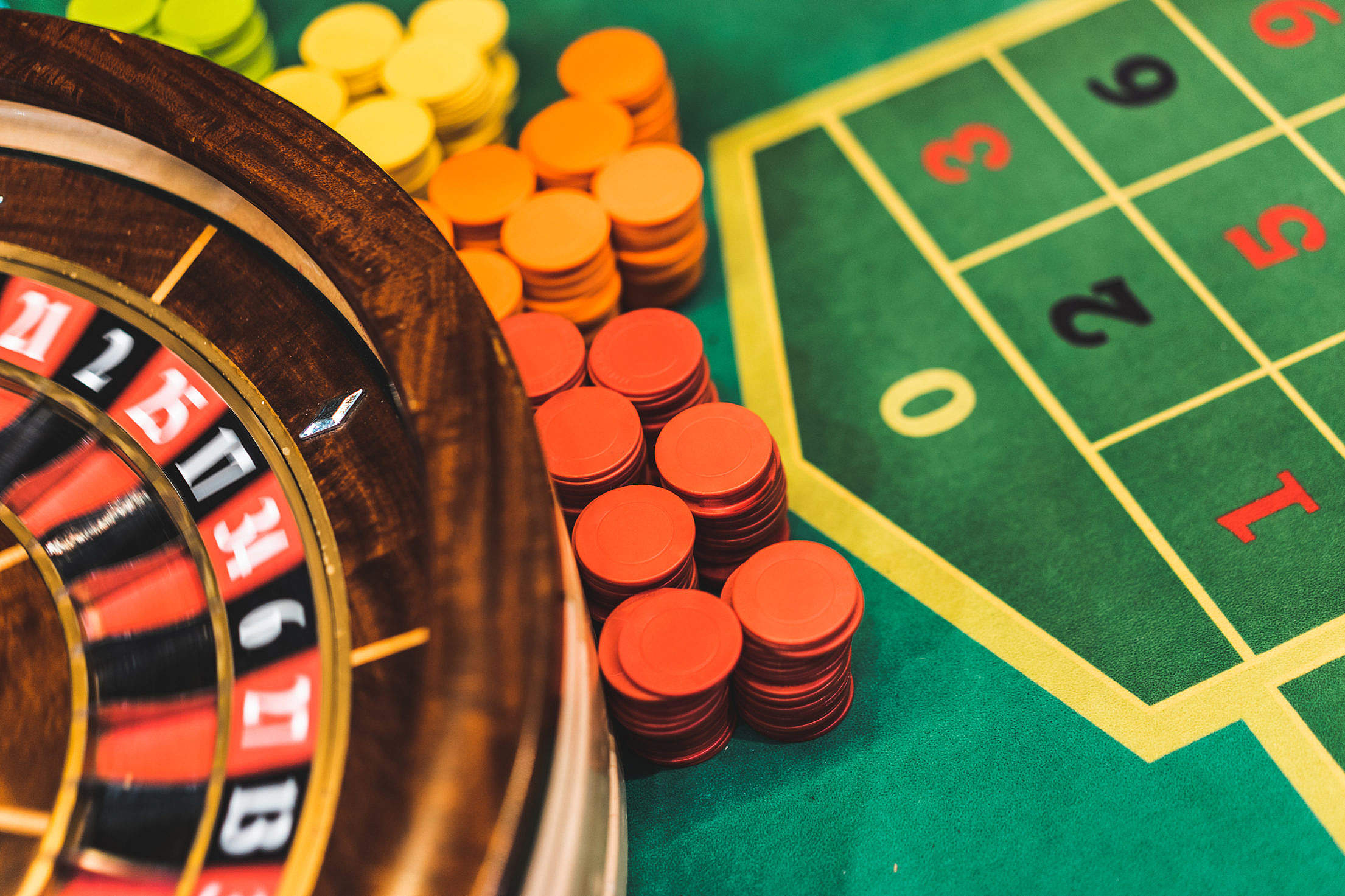 Roulette Table and Chips in Casino Free Stock Photo