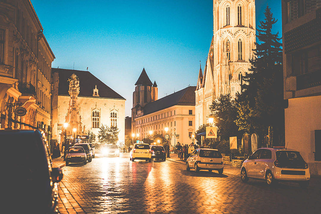 Download Rush Streets of Budapest, Hungary at Night FREE Stock Photo