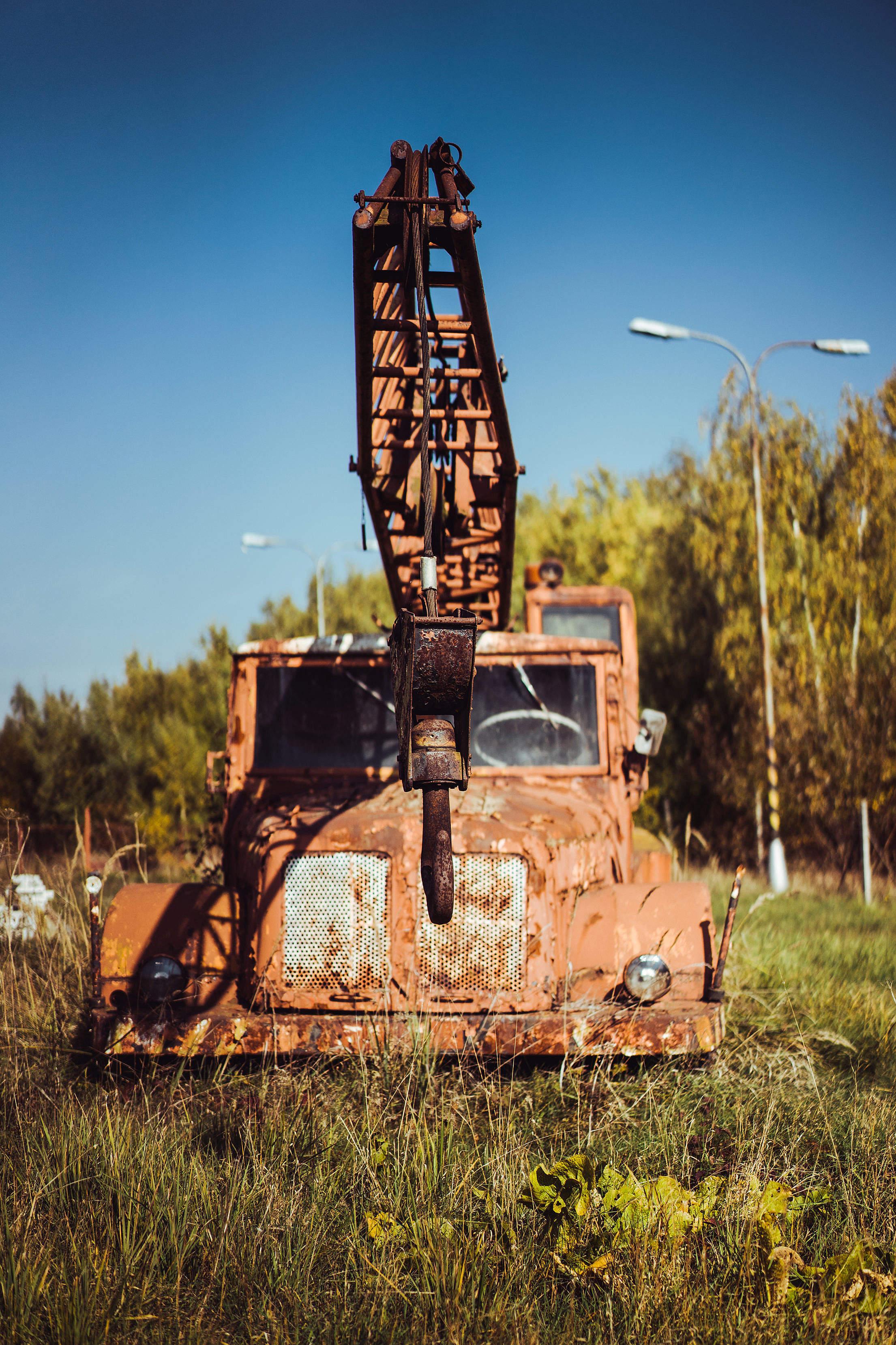 Rusty & Abandoned Crane Truck Free Stock Photo