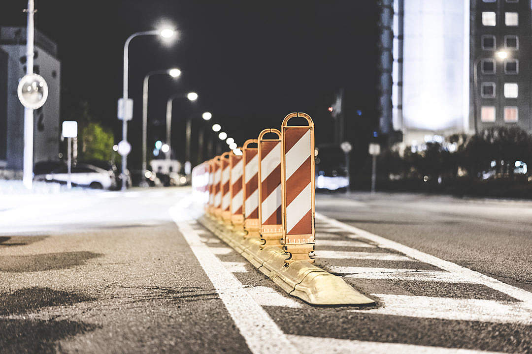 Download Safety Barriers on The Road FREE Stock Photo