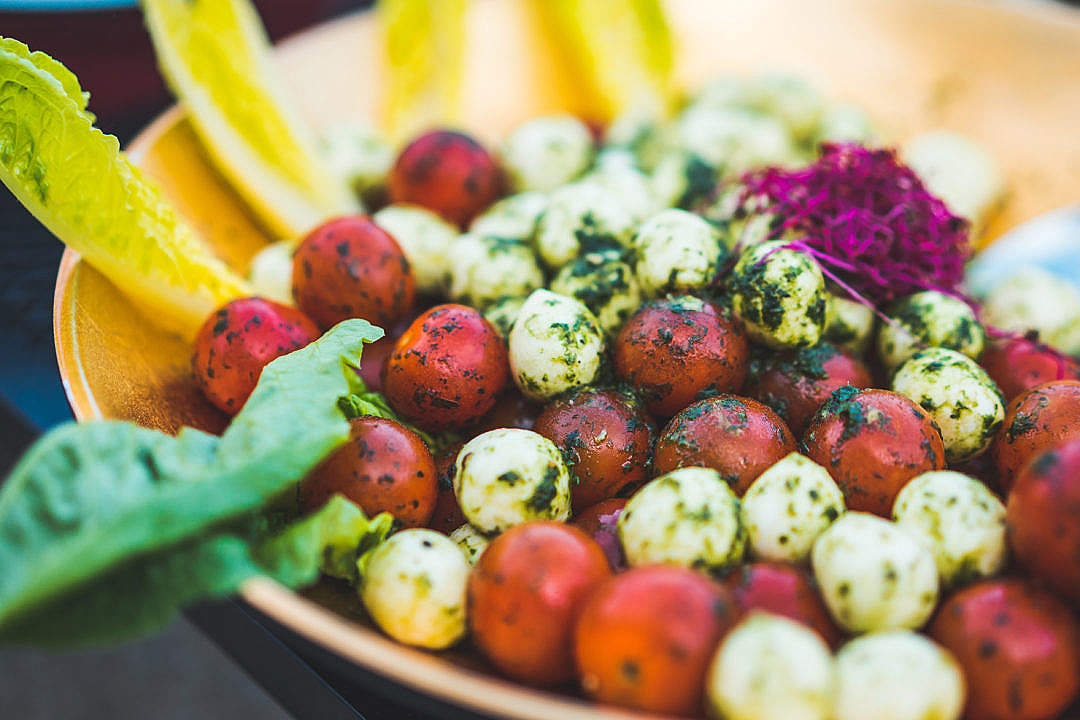 Download Salad Bowl with Mozzarella and Cherry Tomatoes FREE Stock Photo
