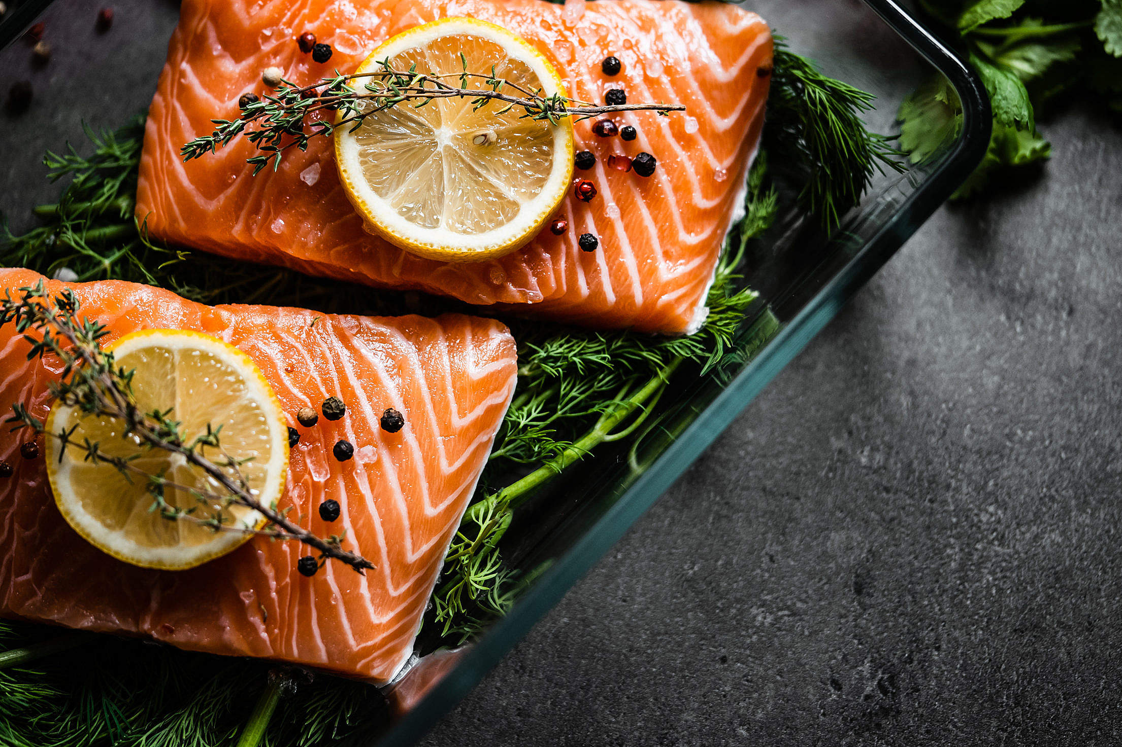 Download Salmon Fillets Ready for Baking Free Stock Photo