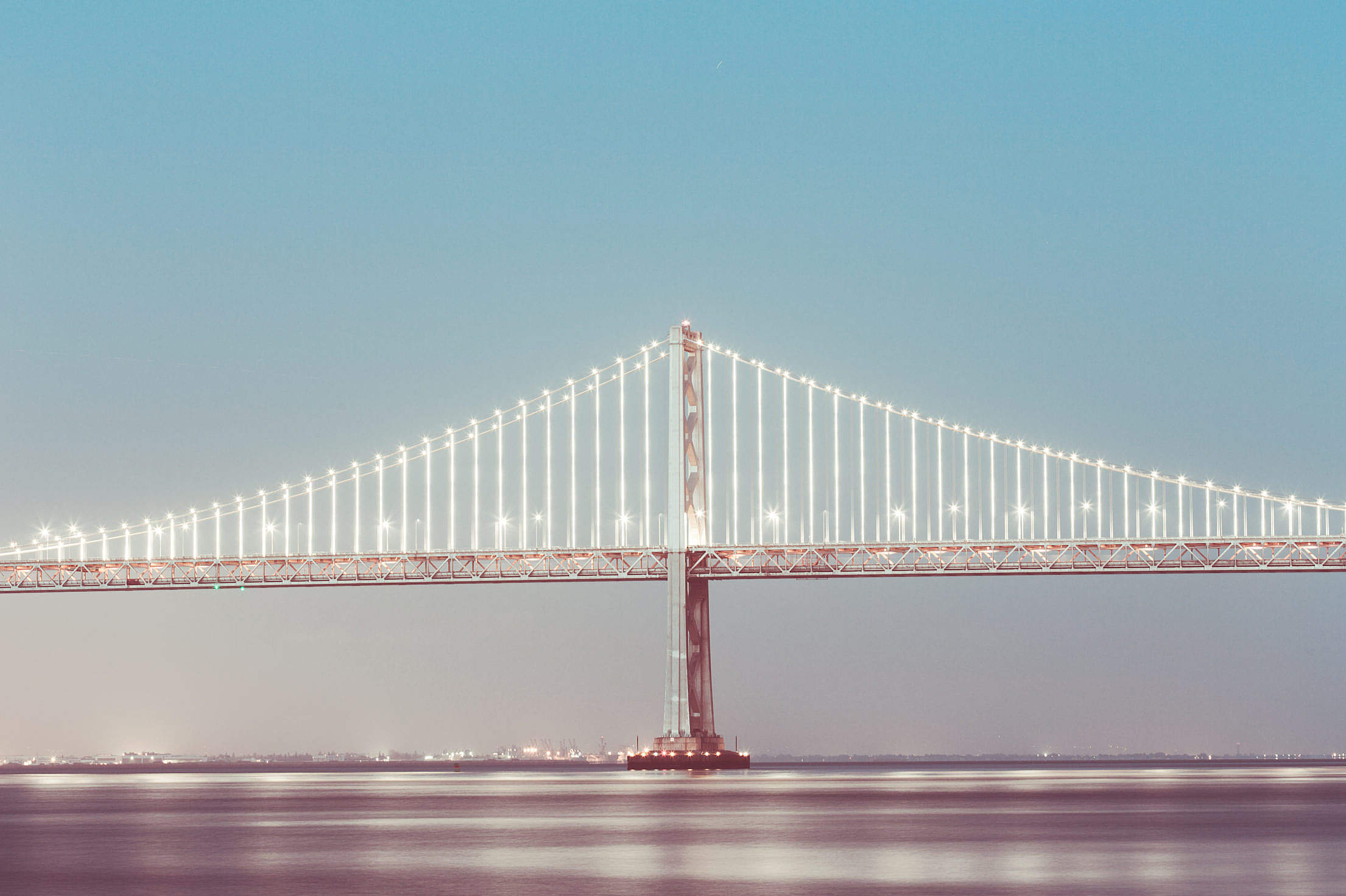San Francisco Bay Bridge in the Evening Free Stock Photo