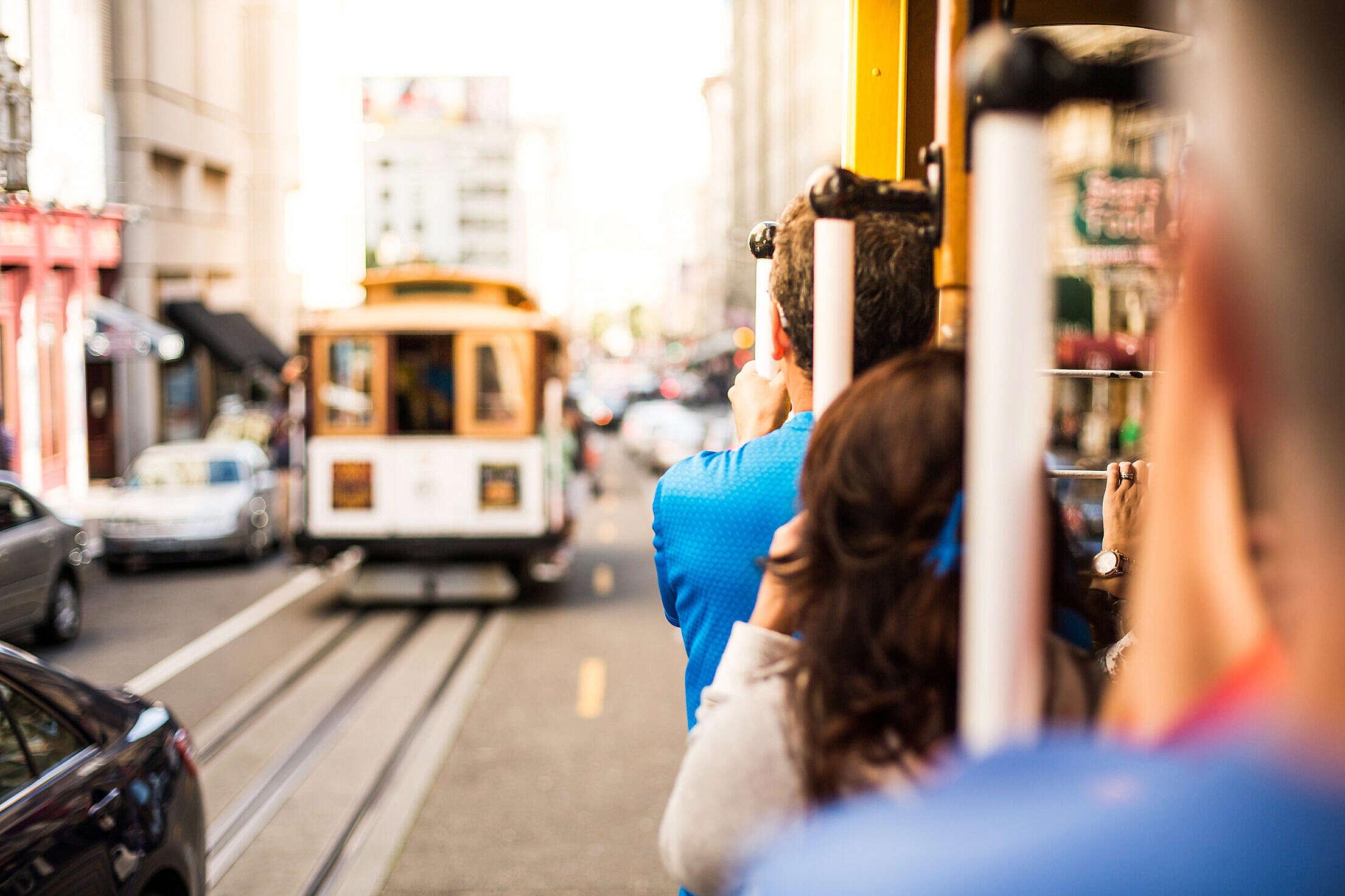 San Francisco Cable Car Ride Free Stock Photo