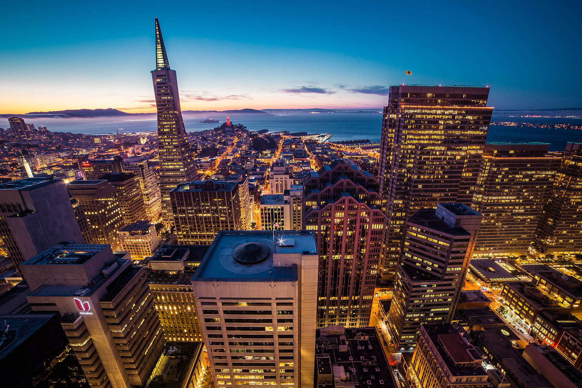 San Francisco Financial Disctrict Skyscrapers Cityscape at Night Free Stock Photo