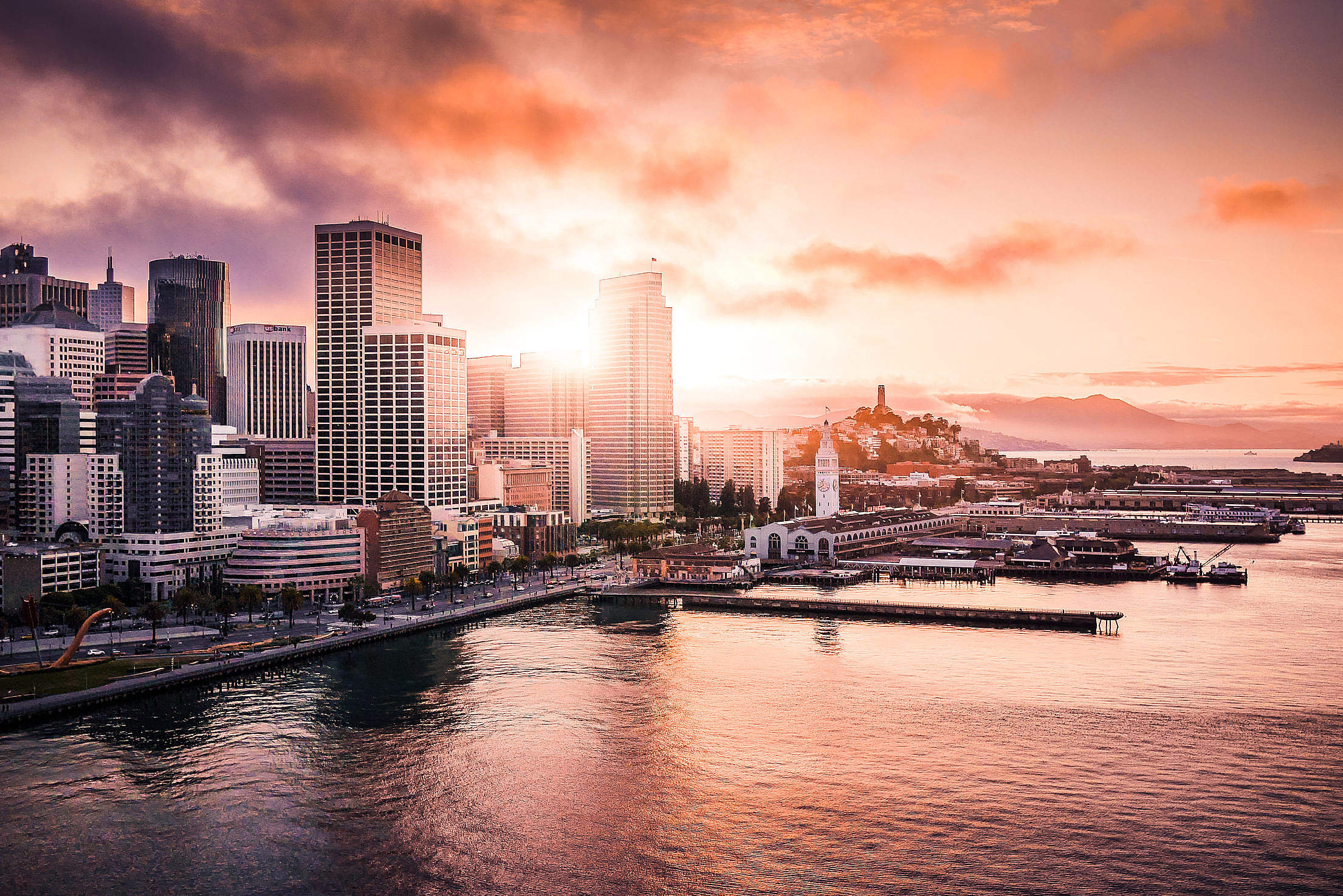 San Franciso Financial District Shore Evening Sunset Free Stock Photo
