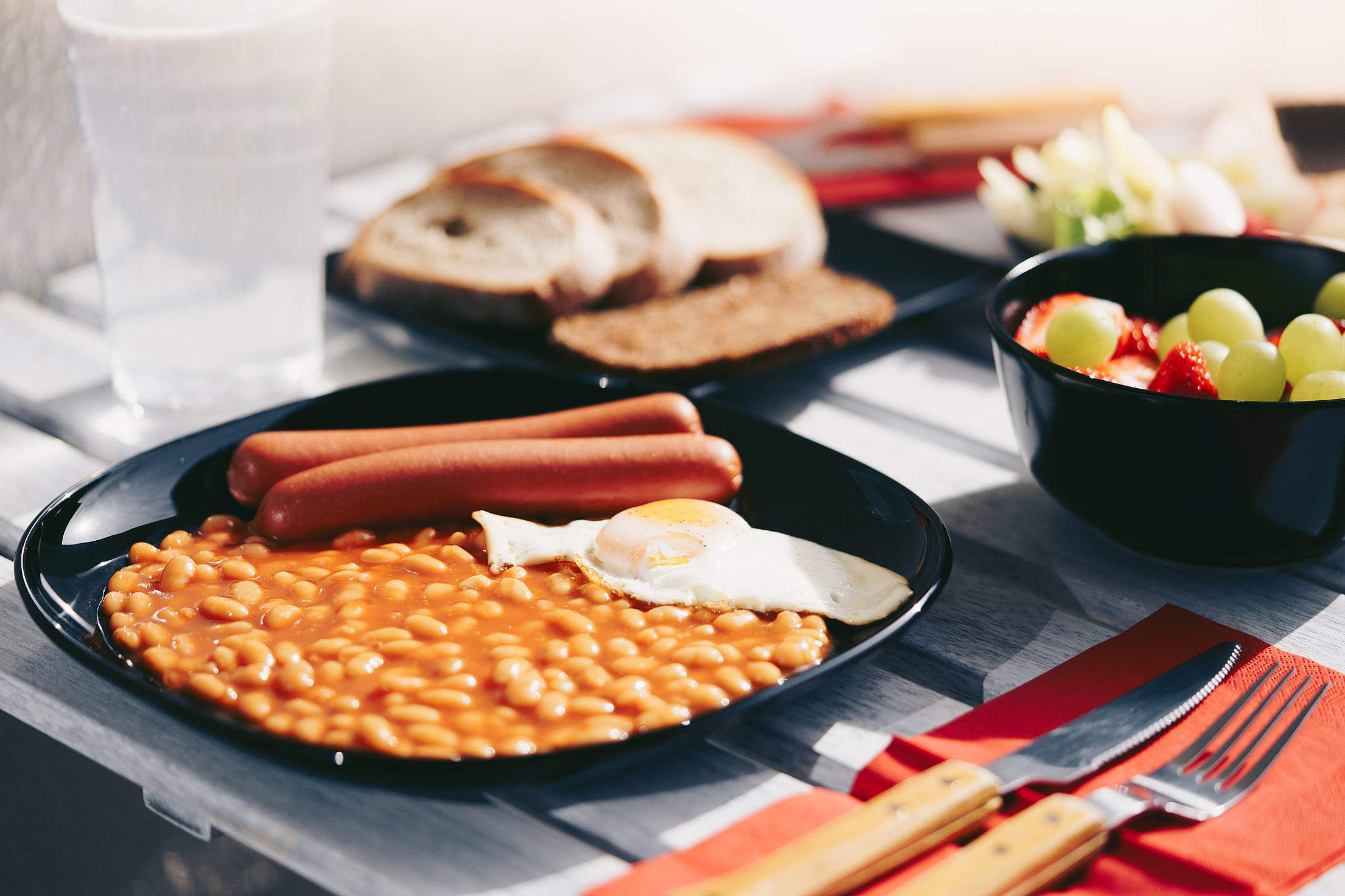 Sausages with Beans and Fried Egg Morning Breakfast Free Stock Photo