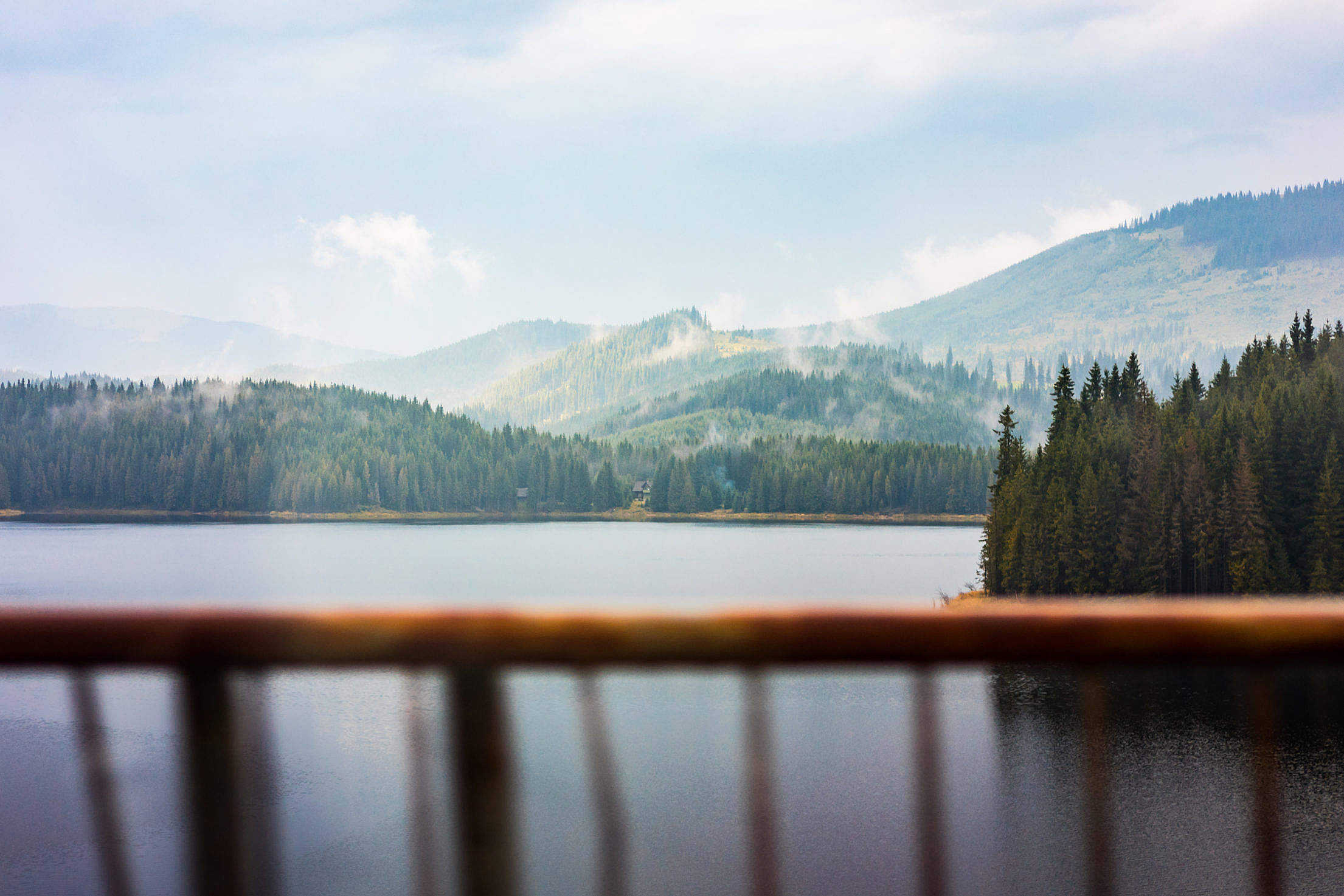 Scenic View of Lake and Foggy Forest Seen Through Car Window Free Stock Photo