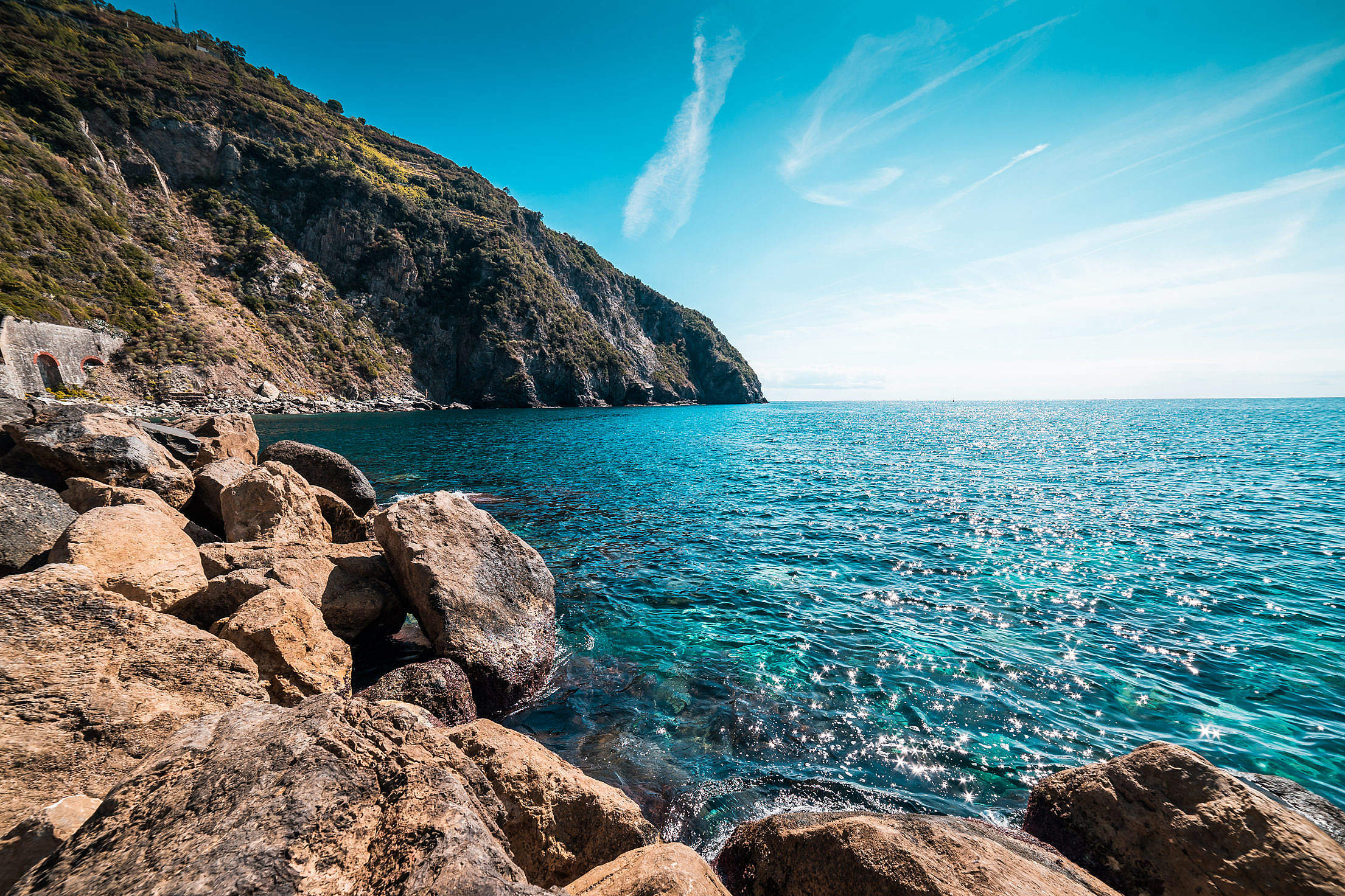 Sea Coastline Italy Free Stock Photo