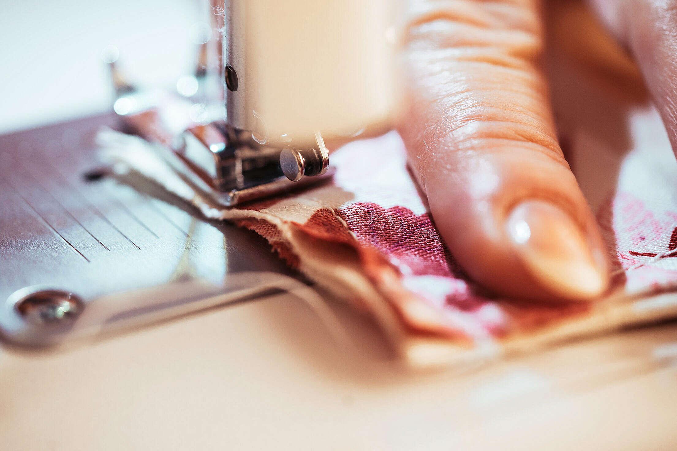 Seamstress Sewing Face Mask Free Stock Photo