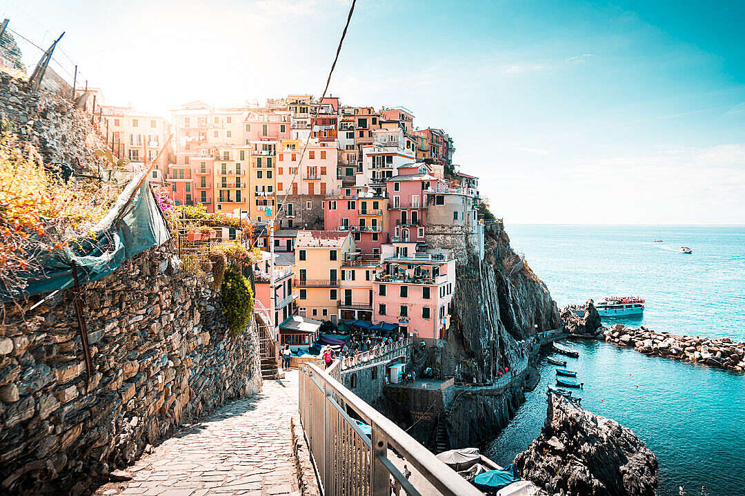 Download Seaside Houses on a Cliff at Cinque Terre FREE Stock Photo