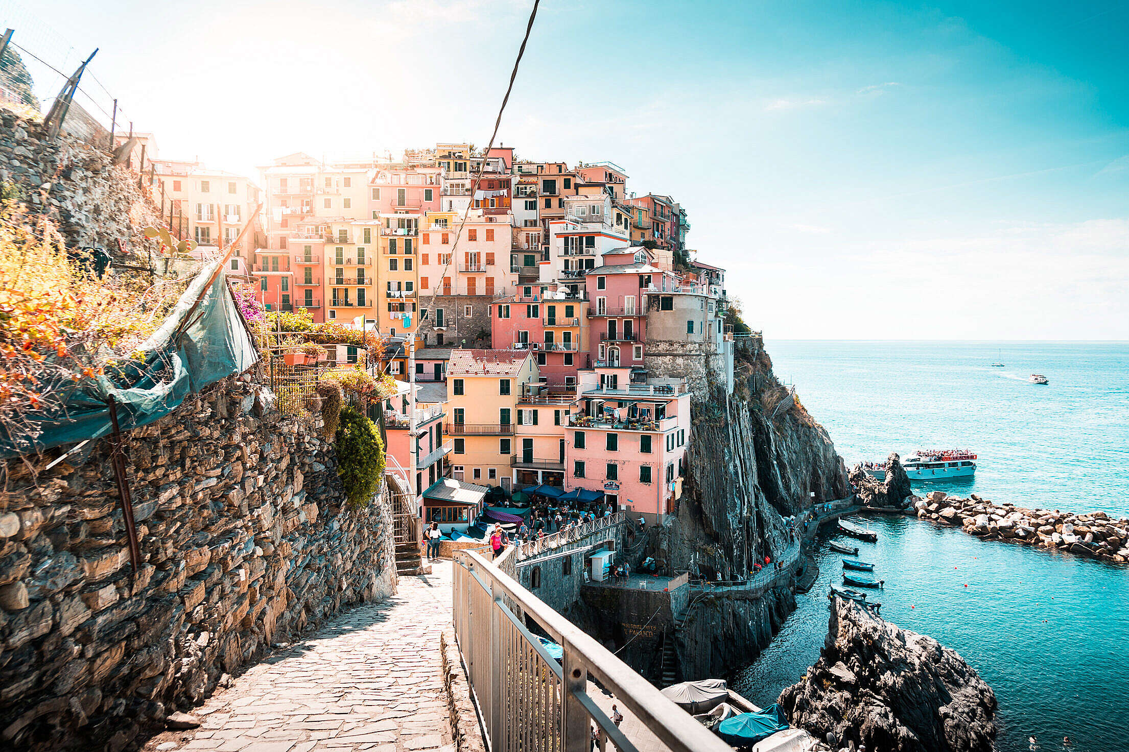 Seaside Houses on a Cliff at Cinque Terre Free Stock Photo
