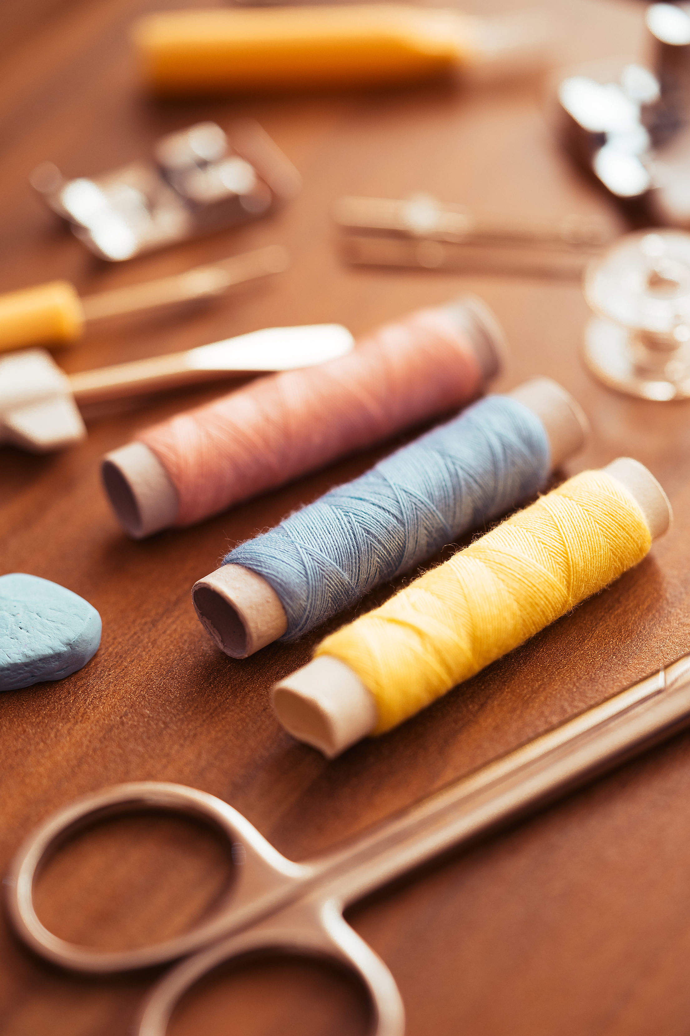 Sewing Kit on The Wooden Table Free Stock Photo