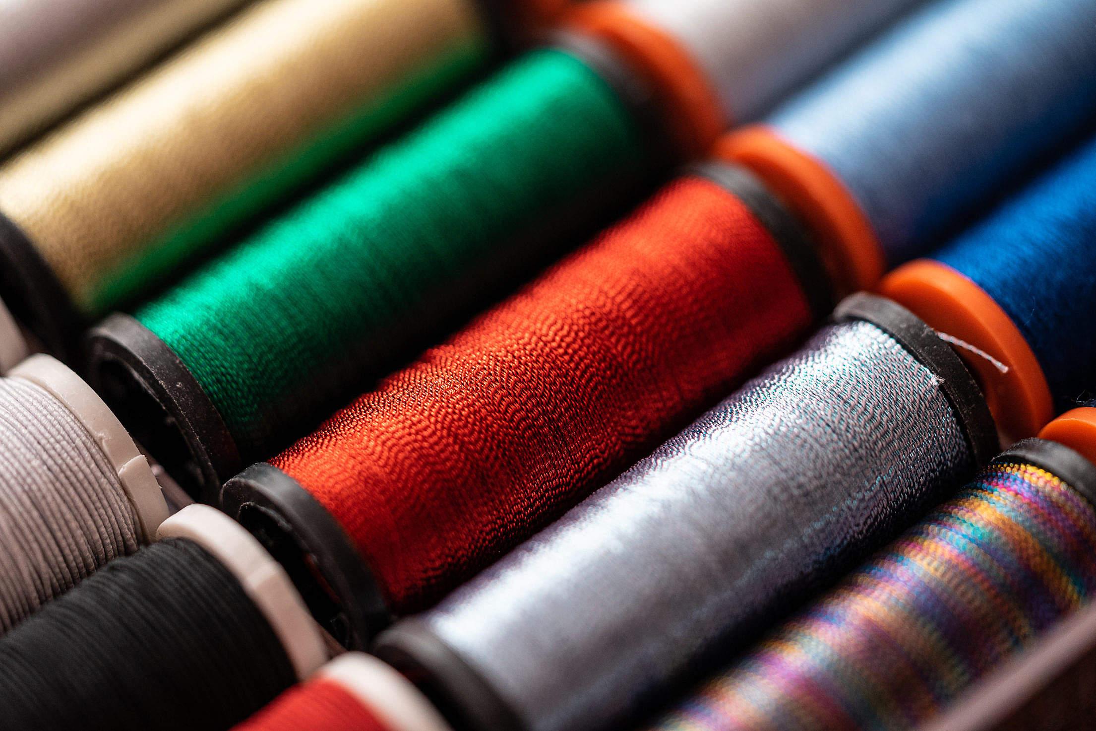 Shiny Metallic Sewing Threads Free Stock Photo