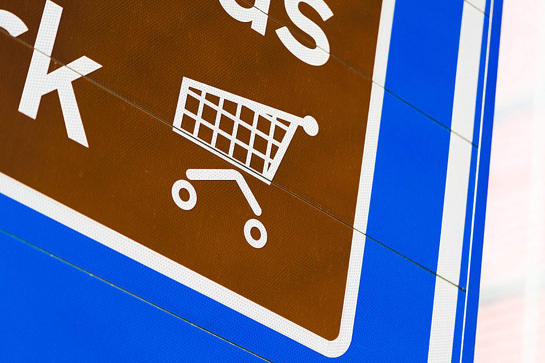 Download Shopping Cart Icon on Road Sign FREE Stock Photo