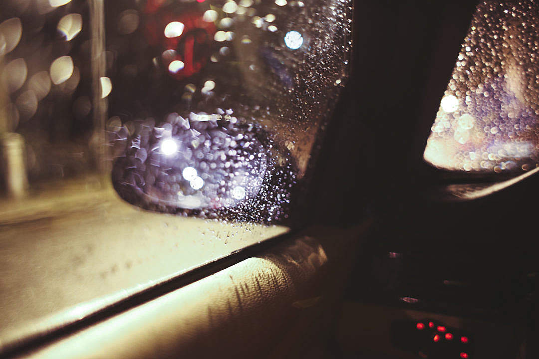 Download Side View Wing Mirror at Rainy Night FREE Stock Photo