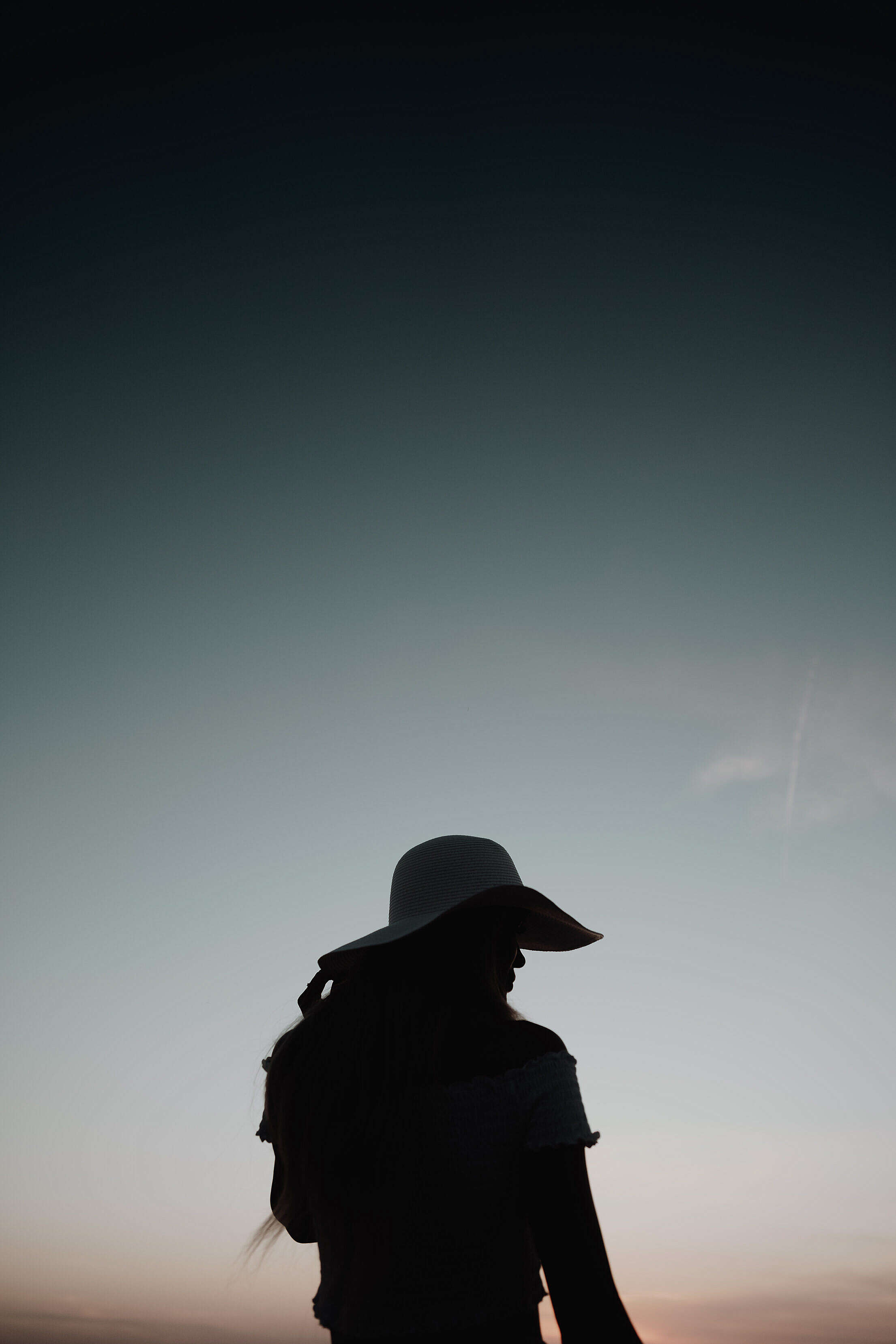 Silhouette of a Woman at Sunset by The Sea Free Stock Photo
