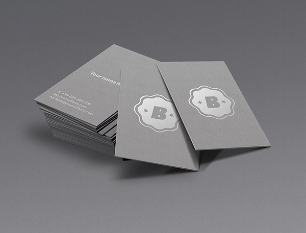 Silver Business Card Mockup stock photo collection