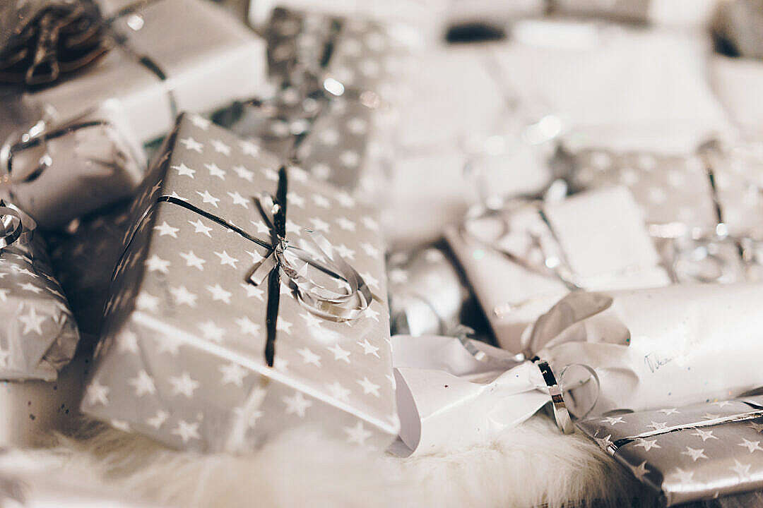 Download Silver Christmas Presents FREE Stock Photo