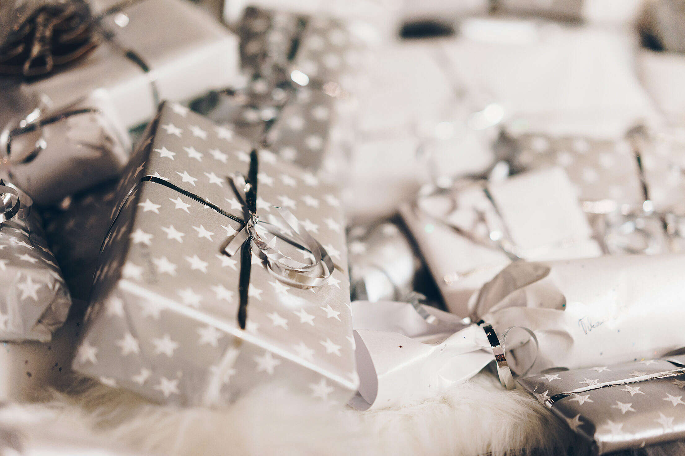 Silver Christmas Presents Free Stock Photo