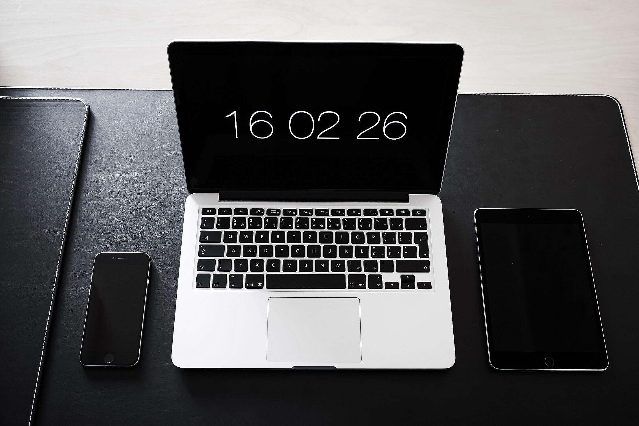 Simple Minimalistic Home Office Workspace Setup Free Stock Photo