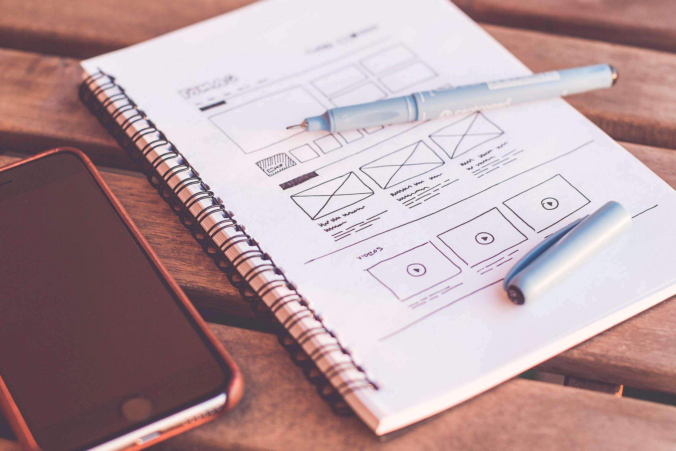Sketching Webdesign Layout Wireframe Ideas Free Stock Photo