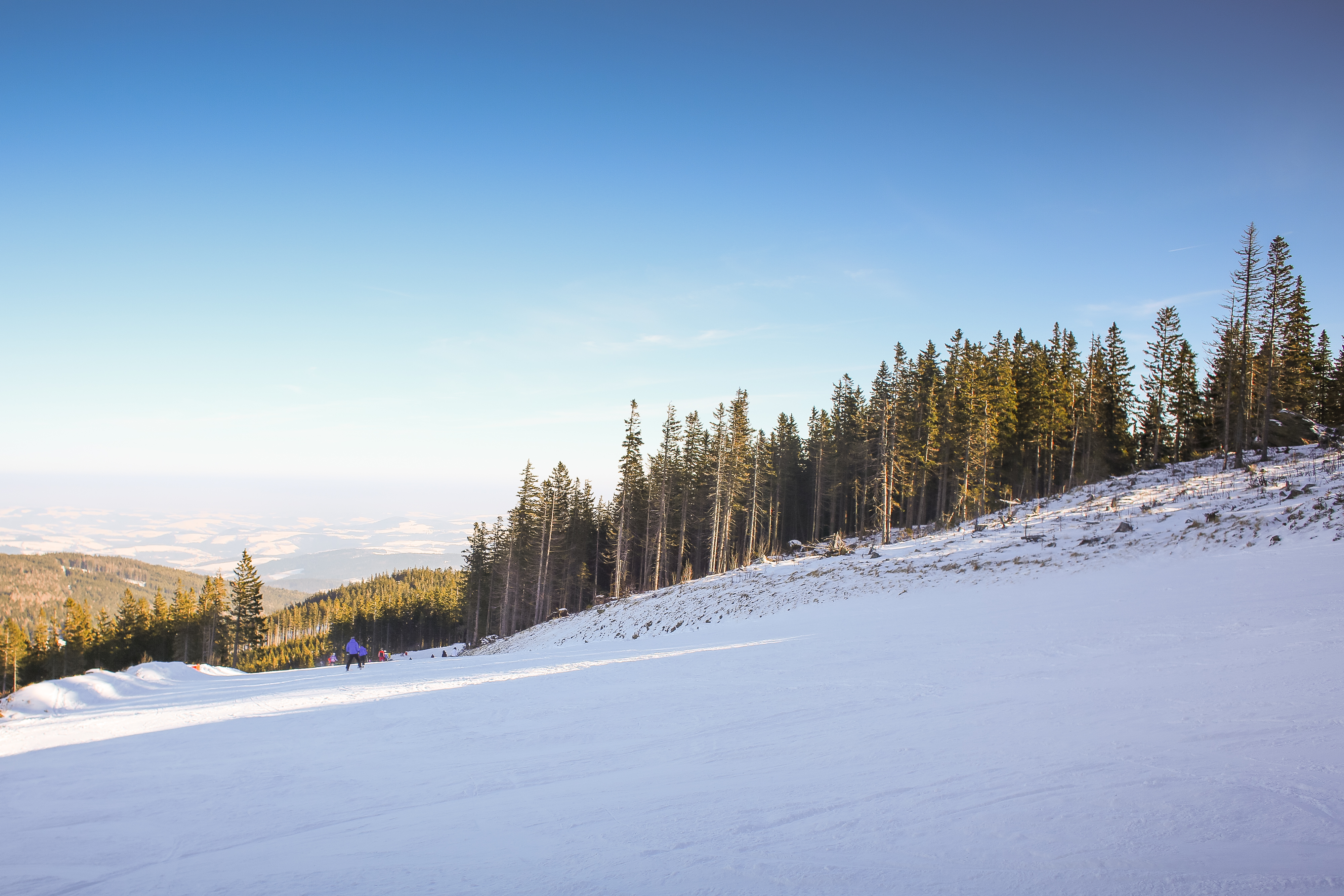 Download Ski Slope with Blue Sky FREE Stock Photo