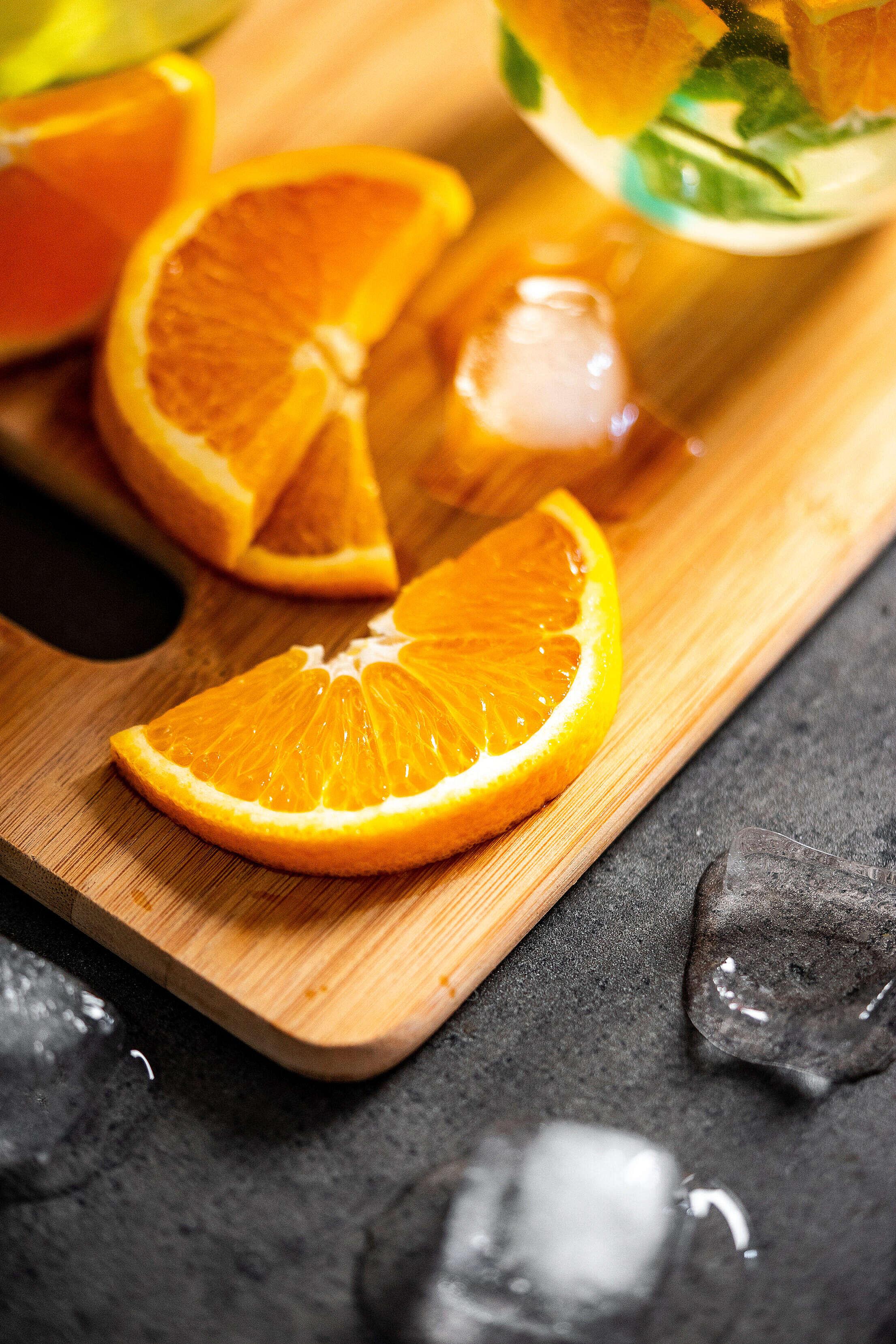 Sliced Orange on The Cutting Board Free Stock Photo