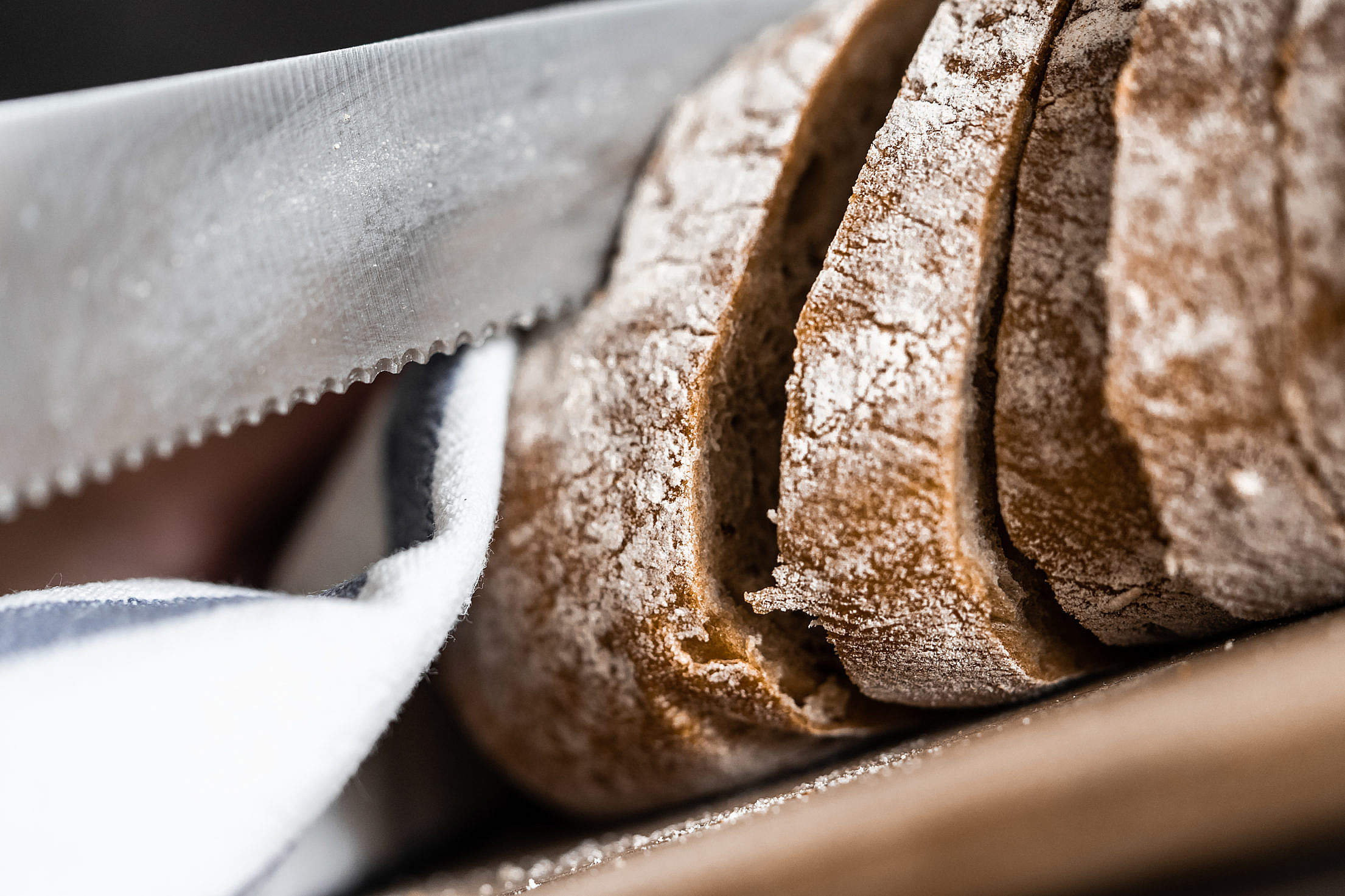Slicing Bread Knife Close Up Free Stock Photo